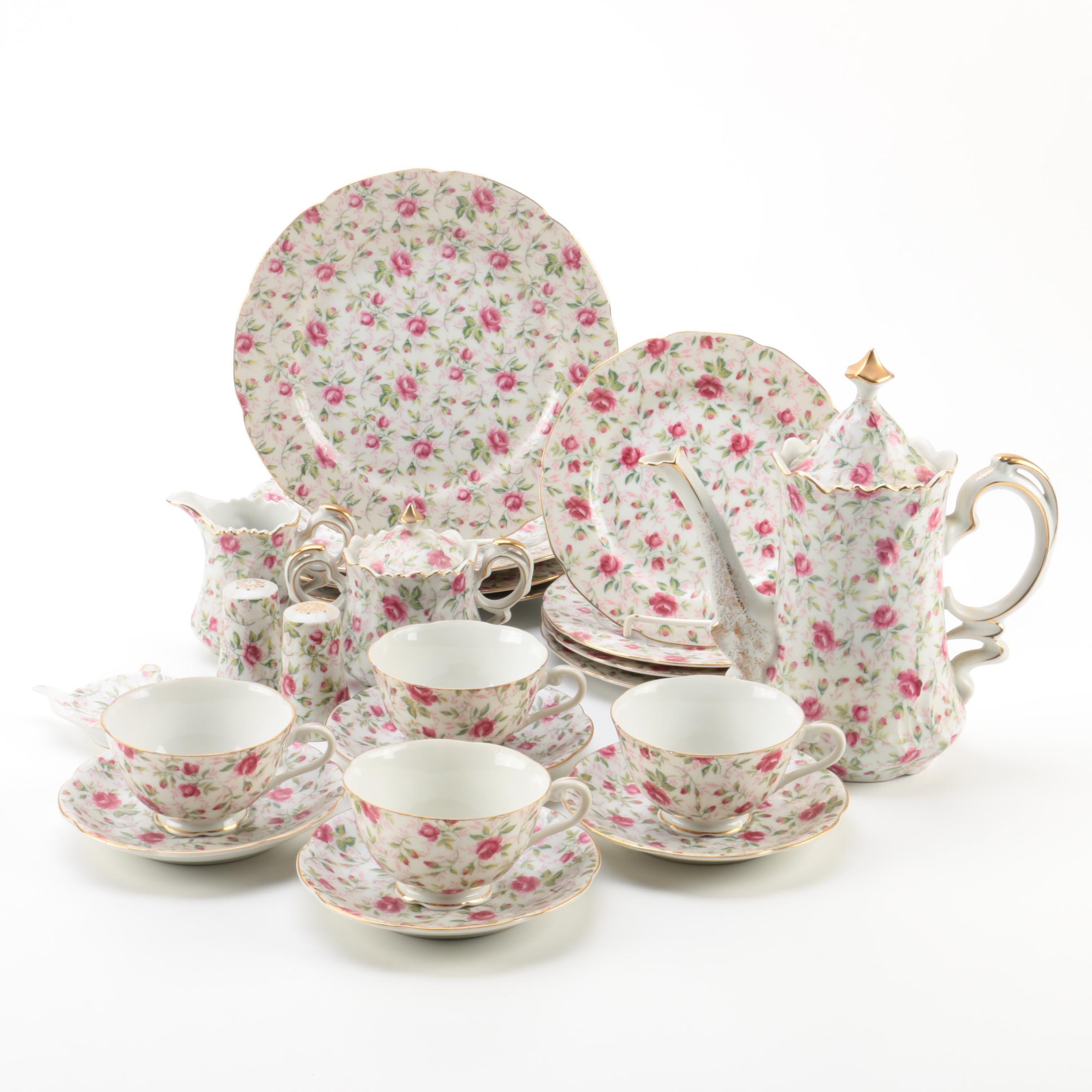 "Lefton China ""Rose Chintz"" Porcelain Dessert Set"