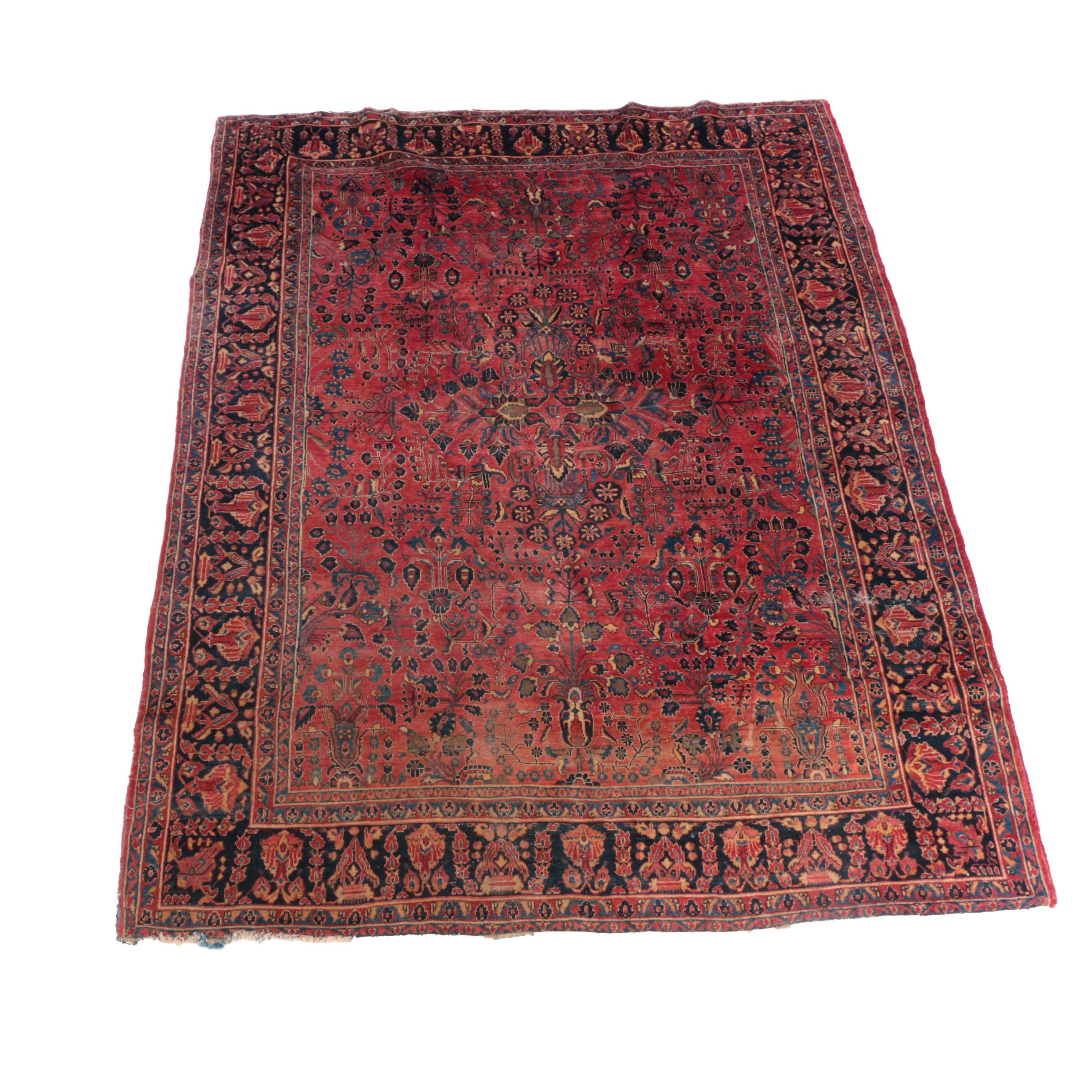 Large Antique Hand-Knotted Persian Sarouk Area Rug