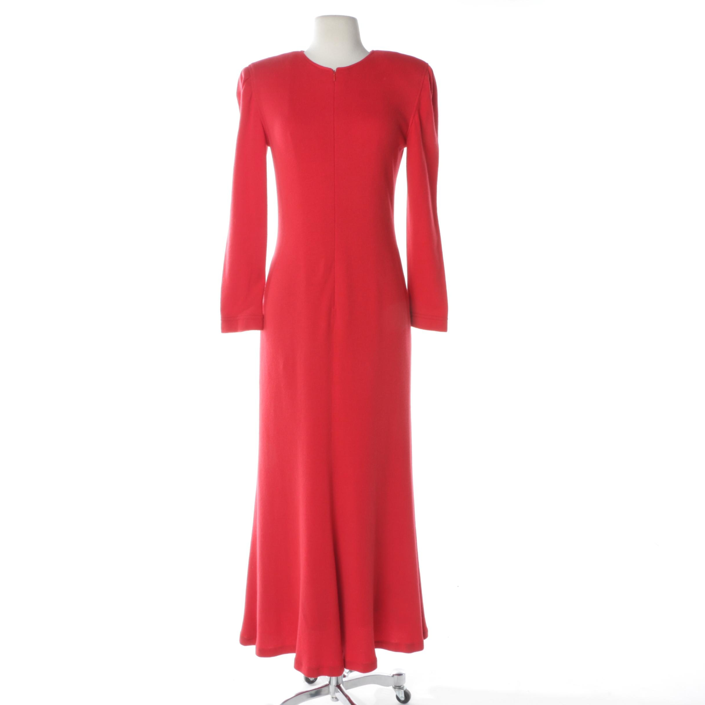 Vintage Oscar de la Renta Red Wool Dress