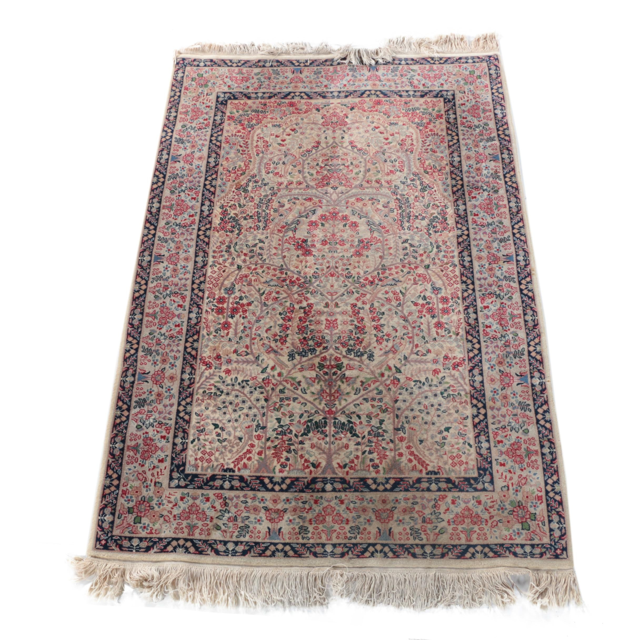 Vintage Finely Hand-Knotted Sino-Persian Wool Prayer Rug