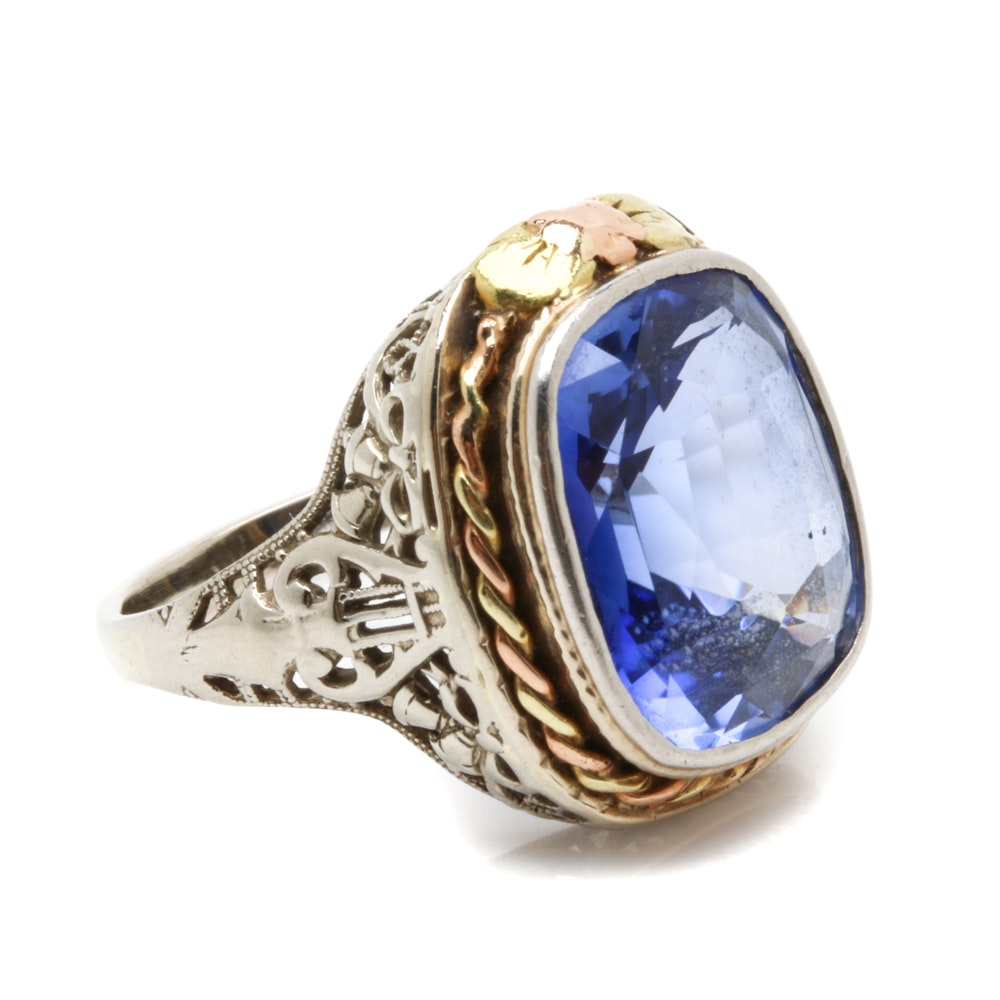 14K White Gold Synthetic Sapphire Ring with Yellow Gold Accents