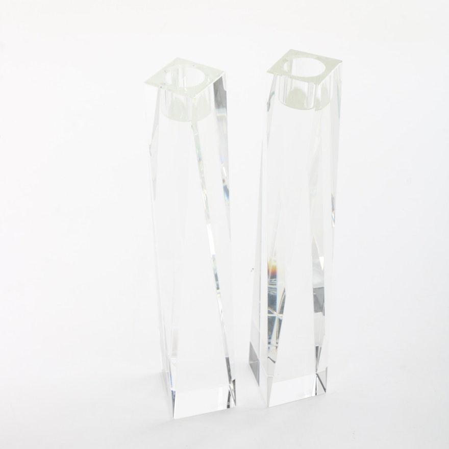 Oleg Cassini Brigitte Crystal Candlesticks Ebth