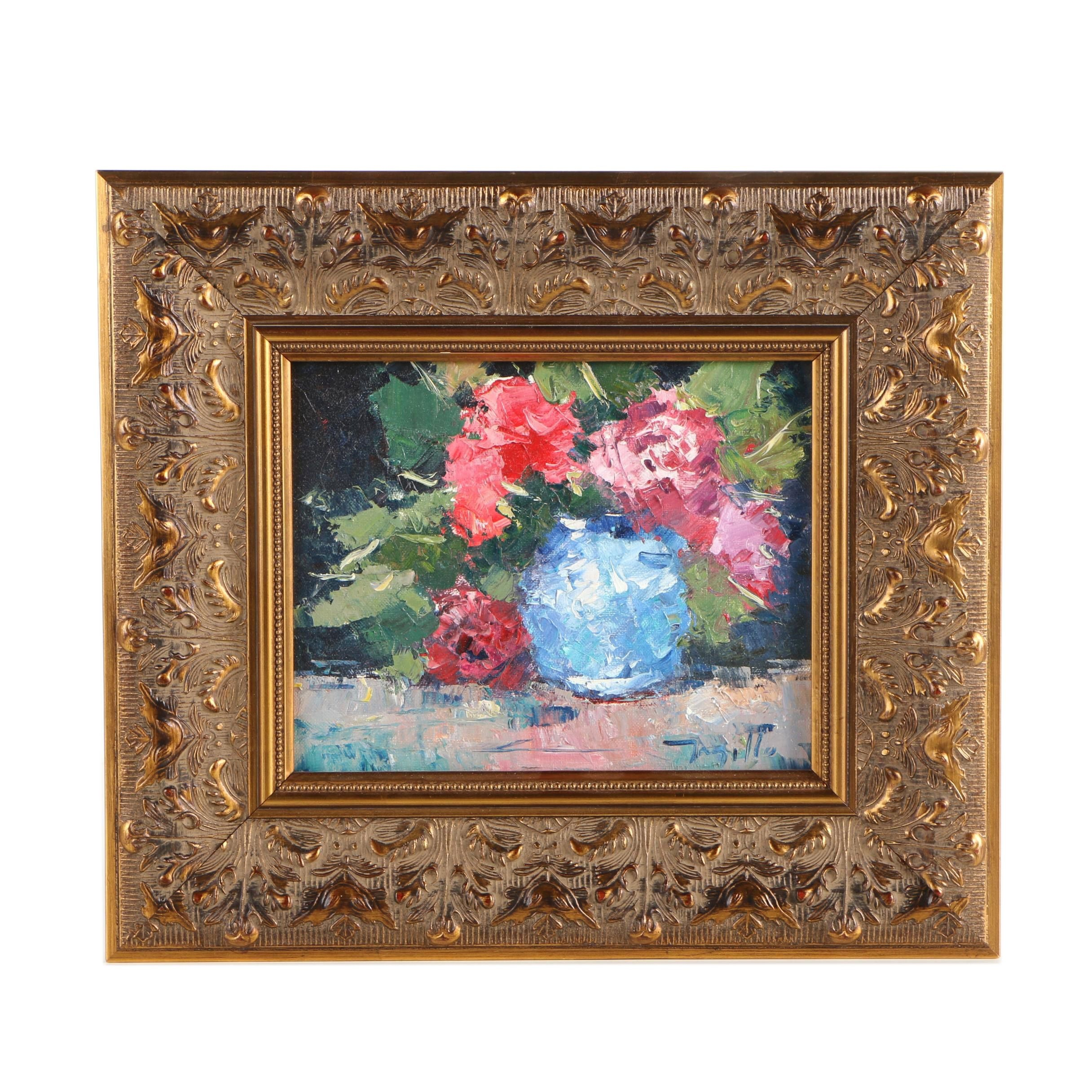 "Jose Trujillo Oil on Canvas Board Still Life ""Beautiful Bouquet"""