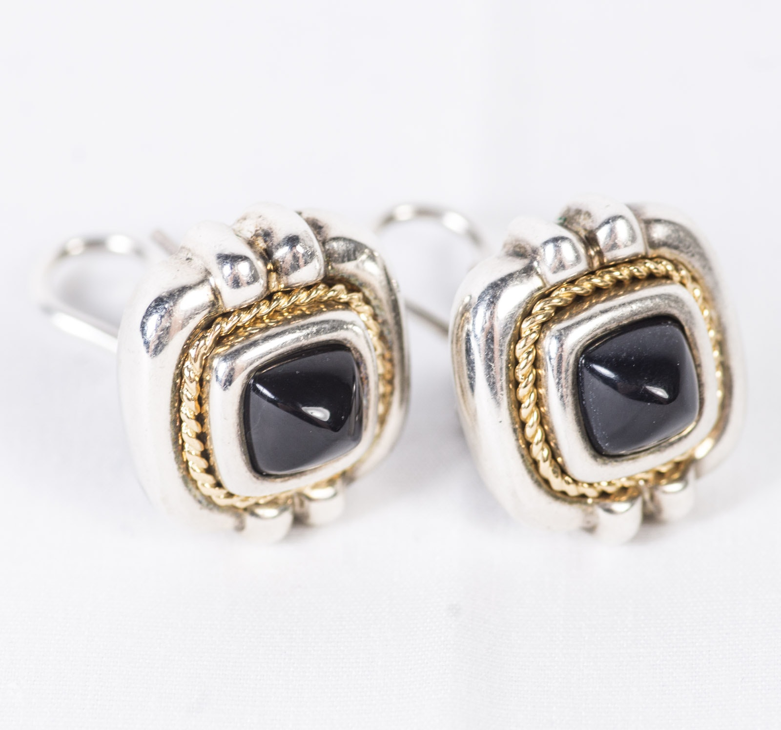 Tiffany & Co. 18K Yellow Gold and Sterling Black Onyx Earrings
