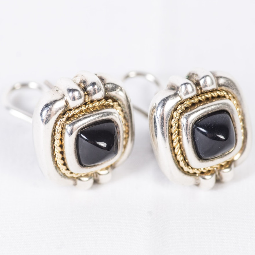 Tiffany Co 18k Yellow Gold And Sterling Black Onyx Earrings