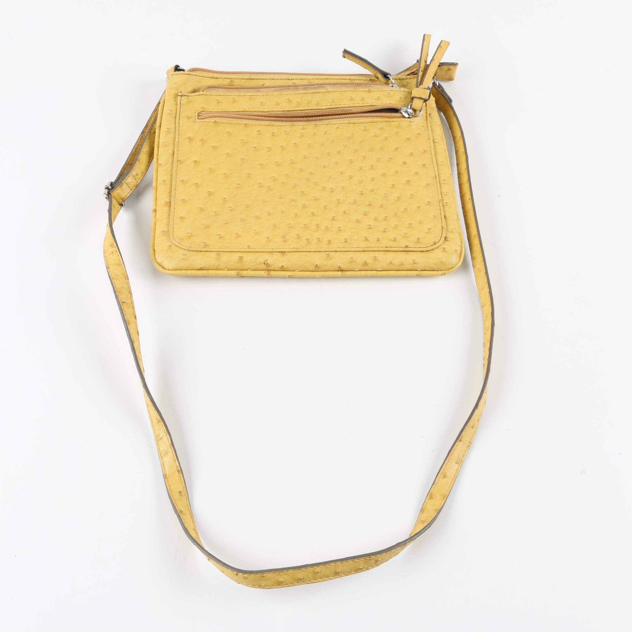 Merona Yellow Faux Ostrich Leather Crossbody Bag