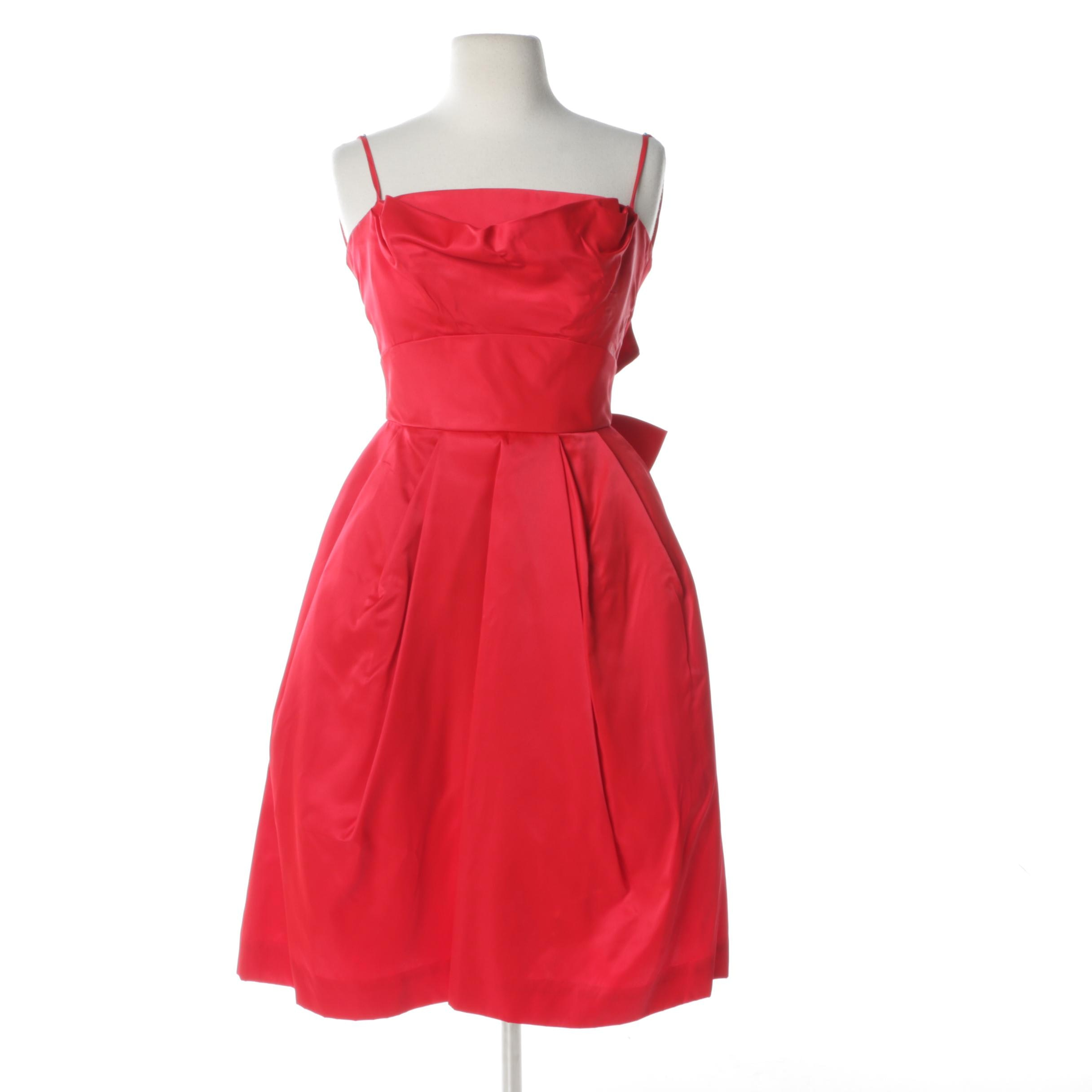 Circa 1960s Lorrie Deb Poppy Red Cocktail Dress
