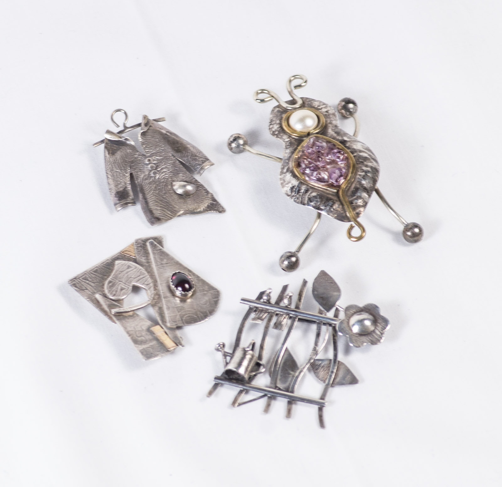 Sterling Silver Brooches featuring Amethyst and Garnet