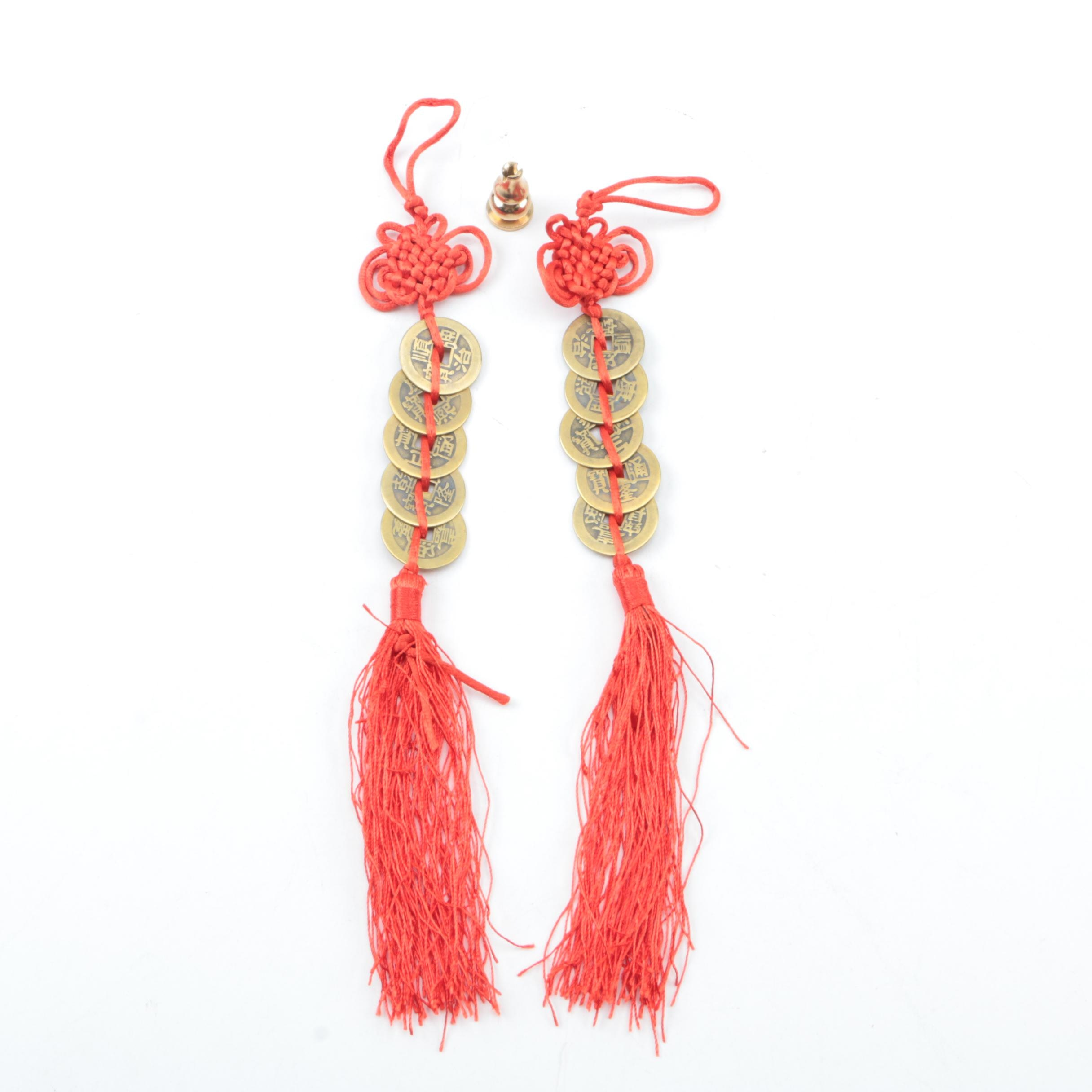 Chinese Red Endless Knot and Feng Shui Coin Tassels