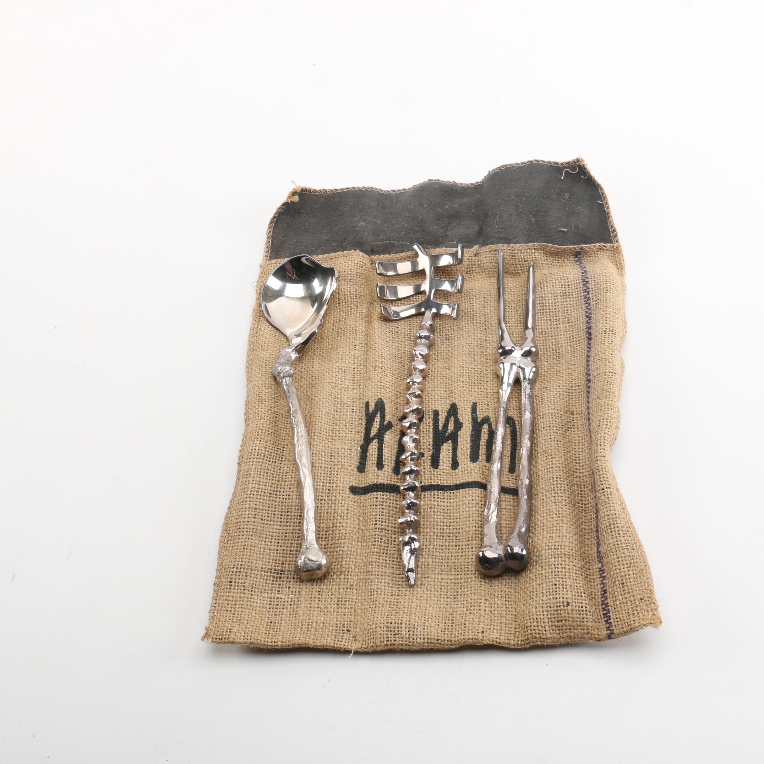 "Michael Aram ""Bone"" Silver Plate Skeletal System Serving Utensils"