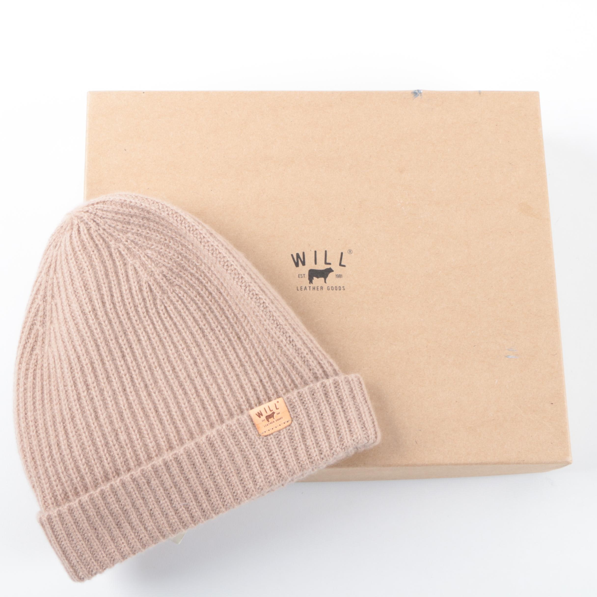 Will Leather Goods Tan Cashmere Knit Watchman's Cap