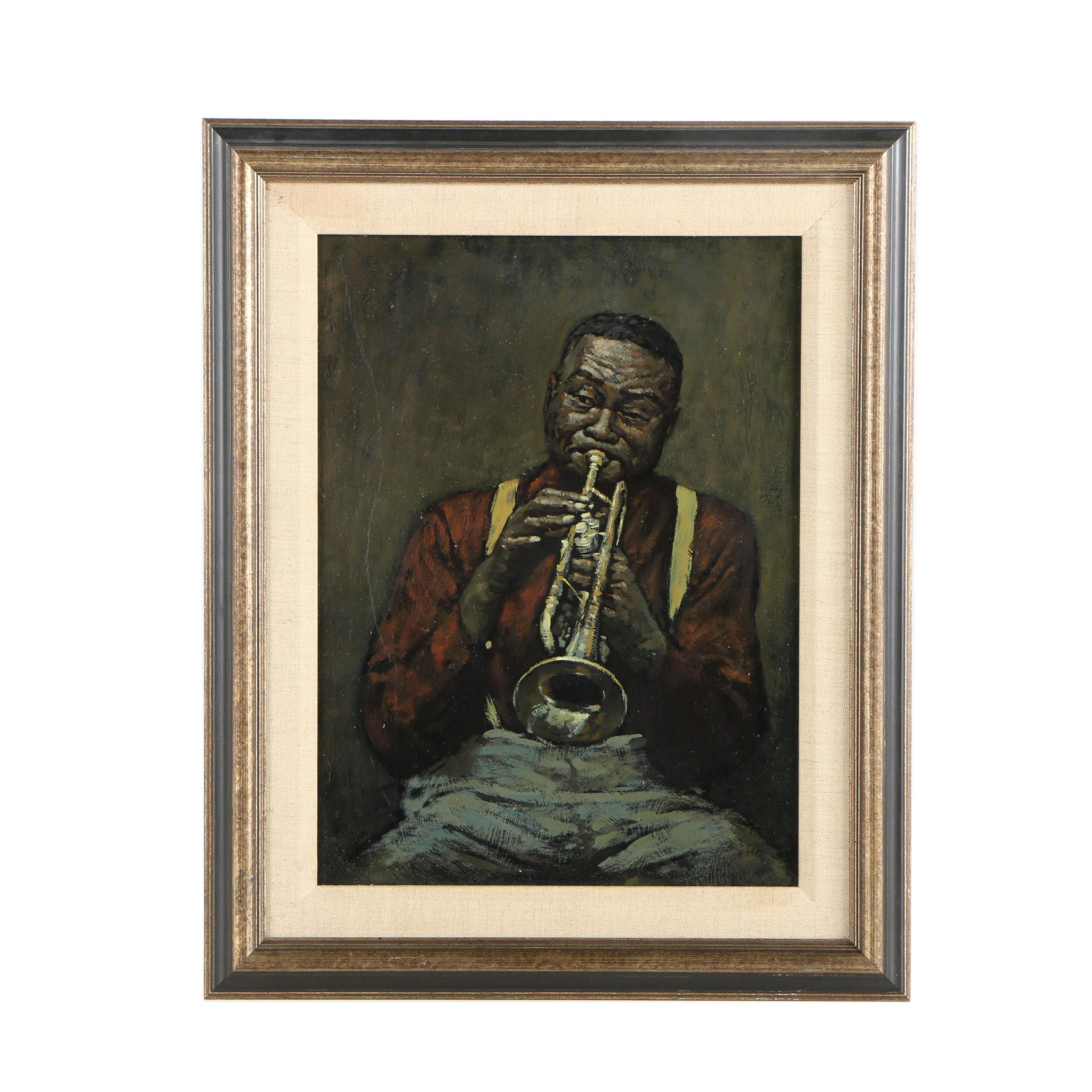Circa 1960s Oil on Board Painting of Trumpet Player