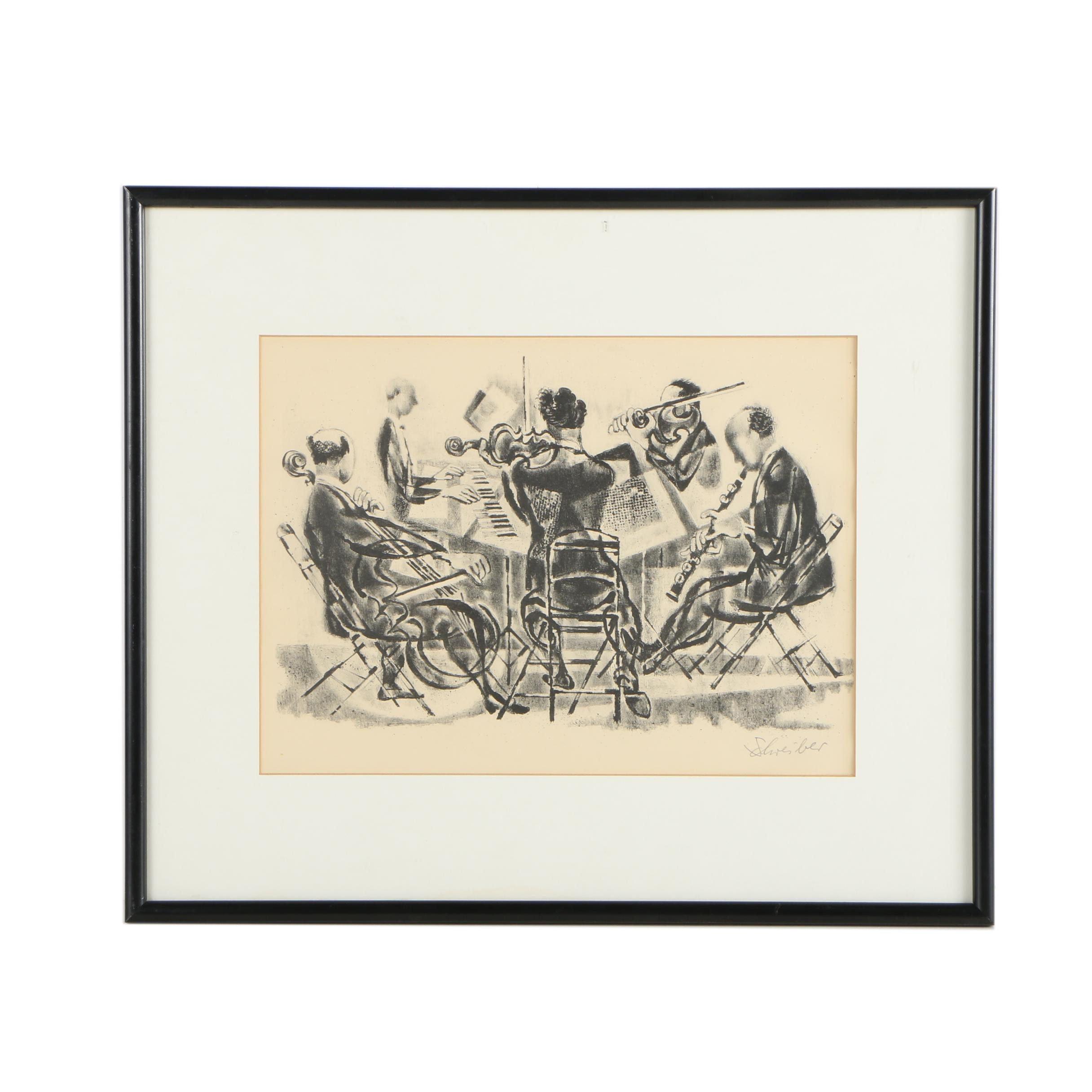 """Georges Schreiber Lithograph """"Quintet"""""""