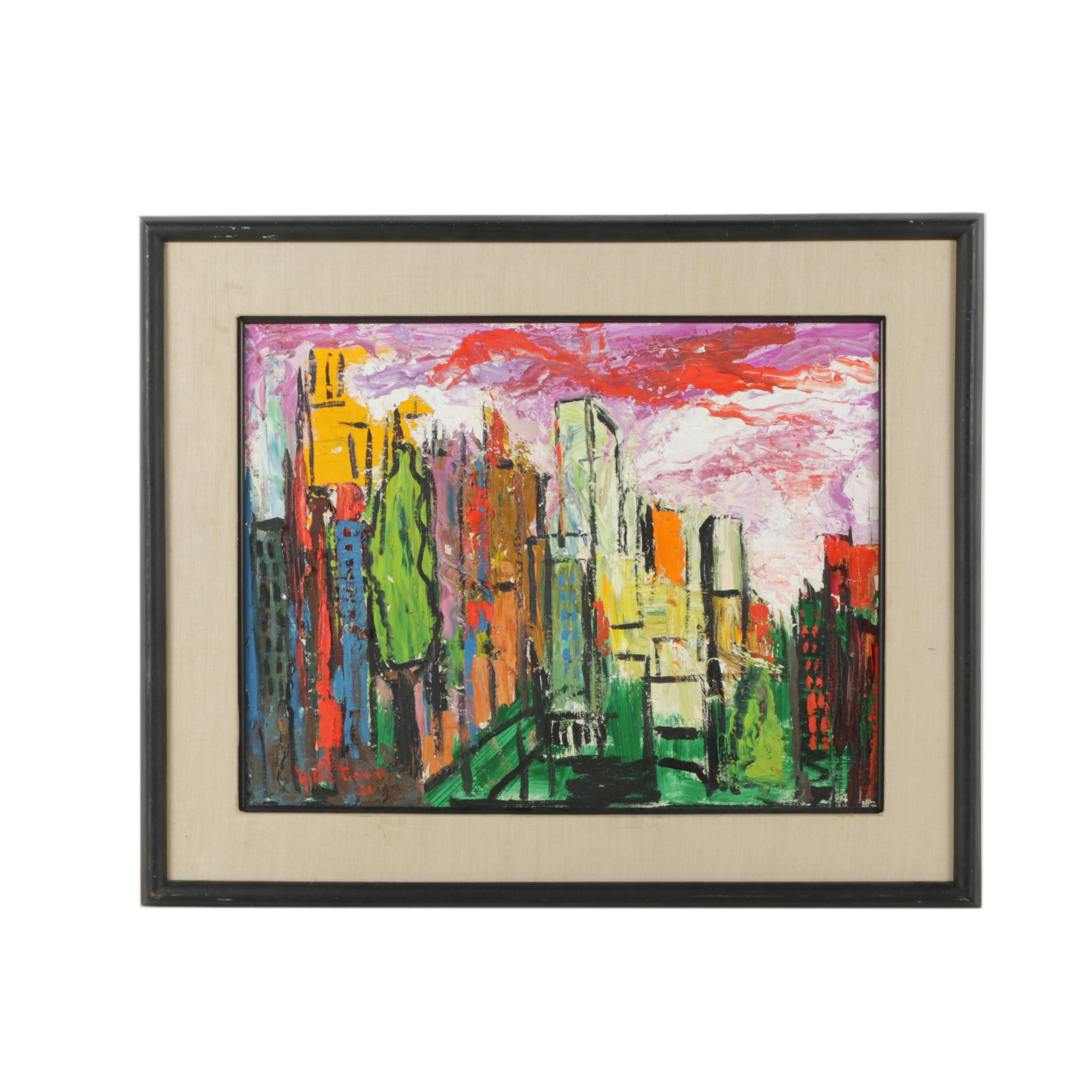 Willie Cohen 1961 Oil Painting Abstract Cityscape