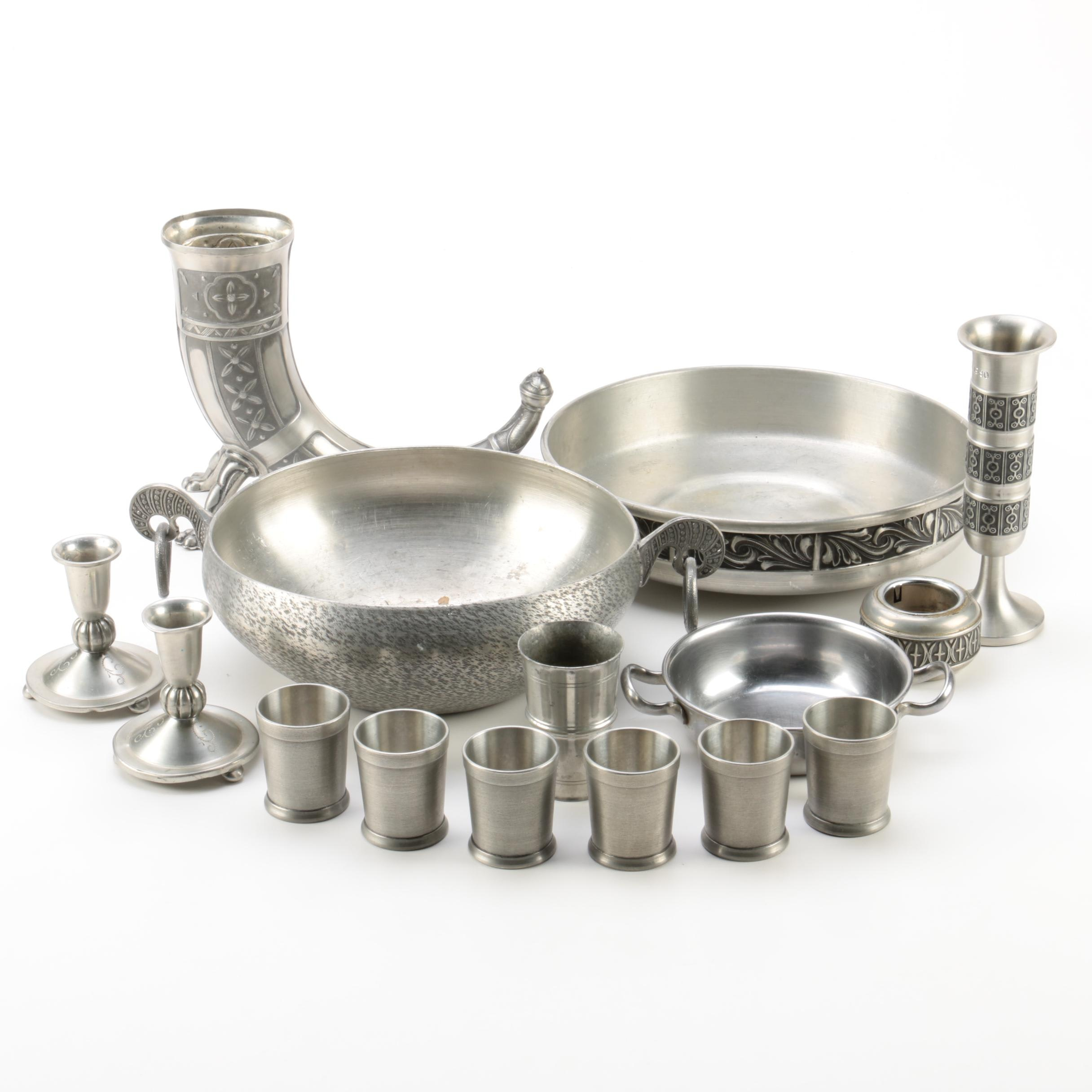 Drinking Horn and Other Scandinavian Pewter Tableware