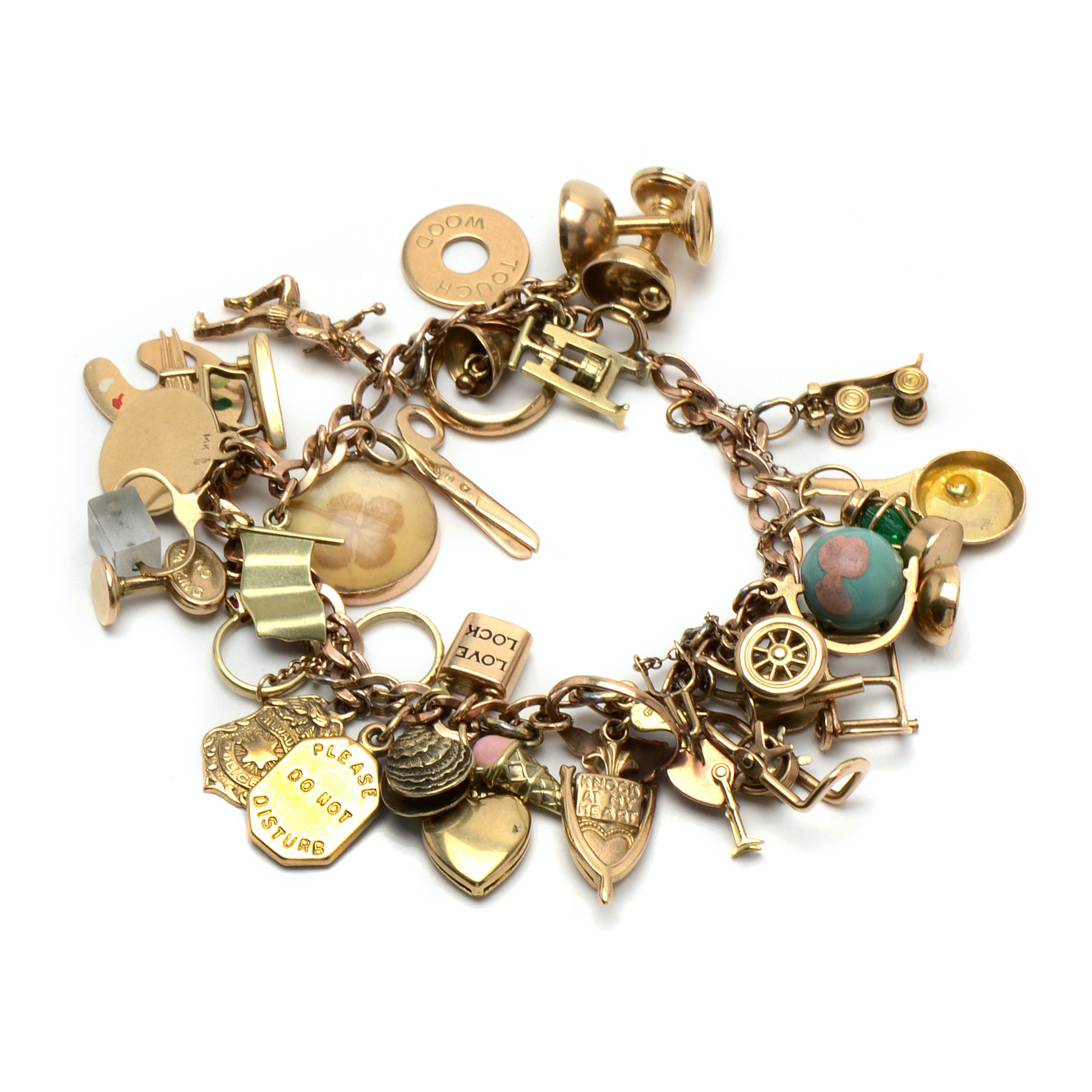 10K Yellow Gold Charm Bracelet with 10K and 14K Yellow Gold Charms