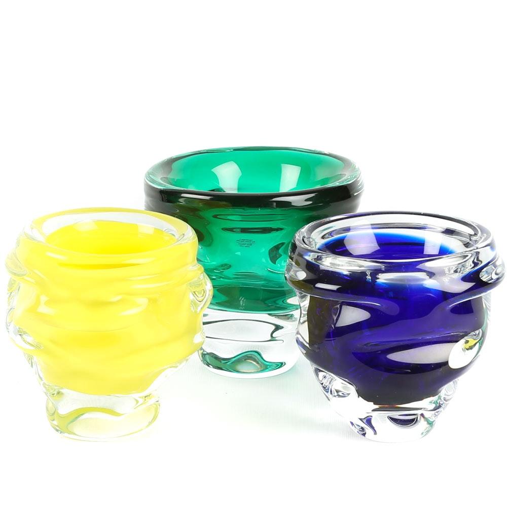 Handmade Czech Republic Art Glass Bowls