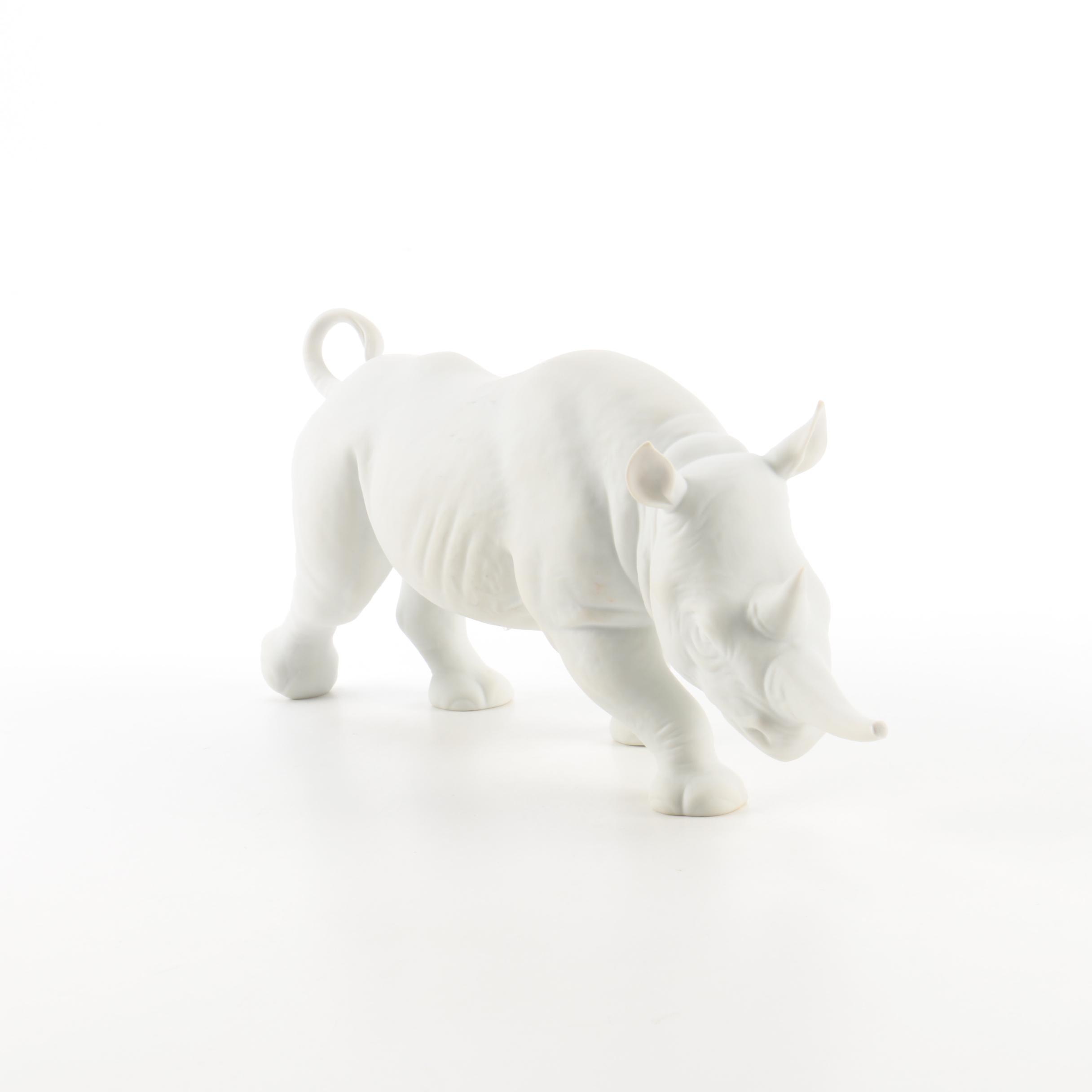 Goebel Bisque Porcelain Rhinoceros Figurine