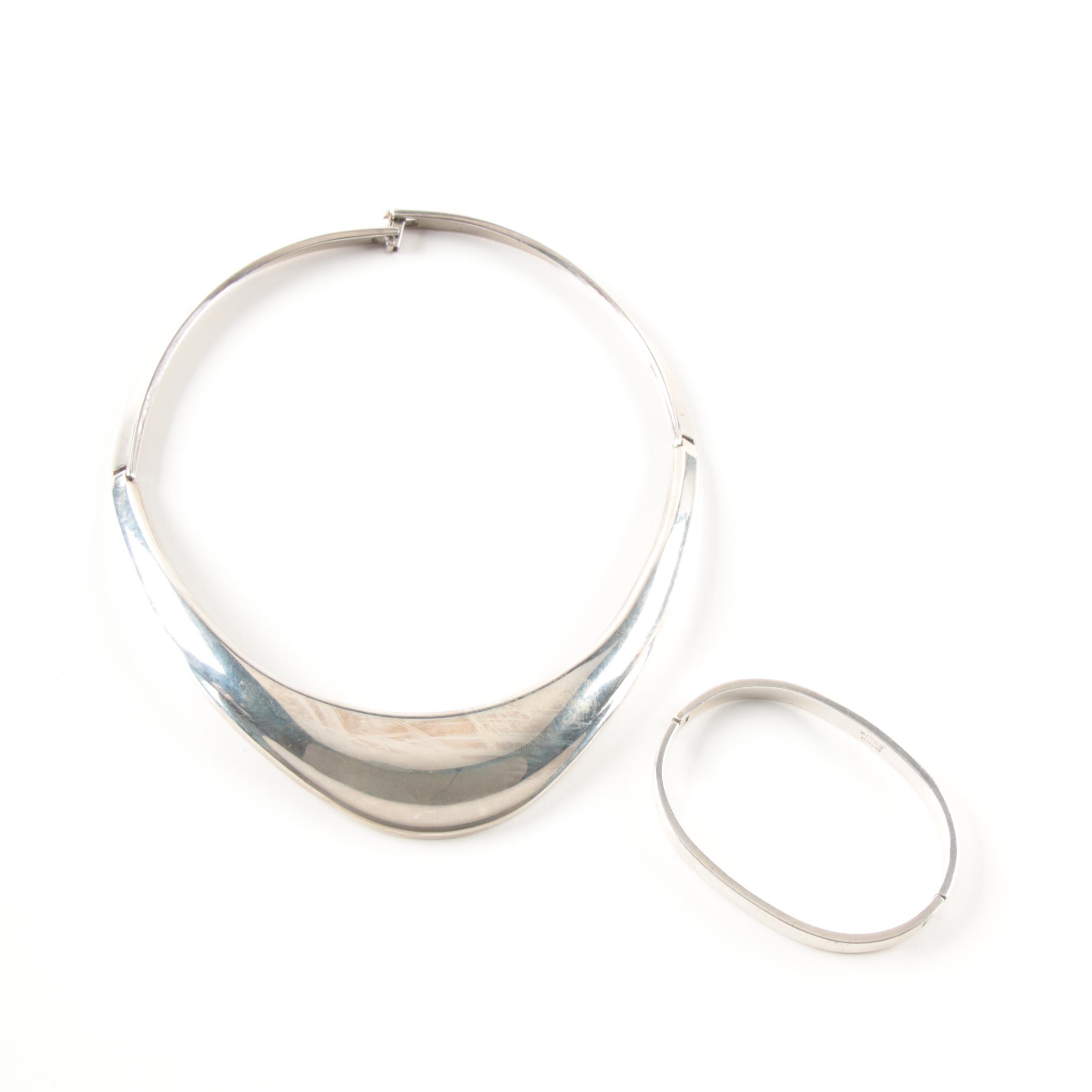 Sterling Silver Cíaní Hinged Necklace and Bracelet