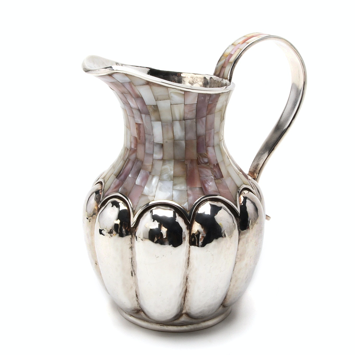 Vintage 1970's Los Castillo, Taxco Hand Wrought Silver Plate Pitcher with Inlay