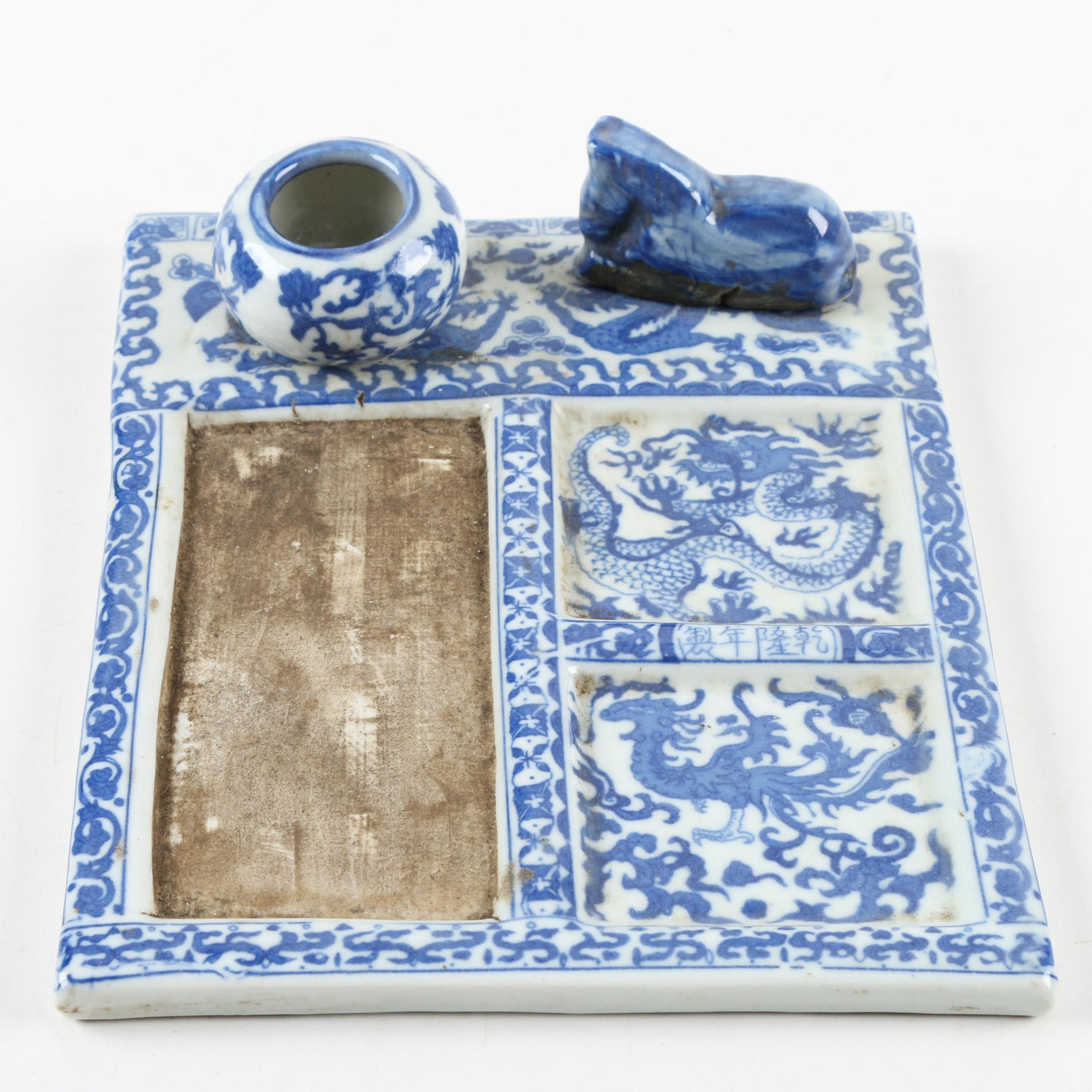 Blue and White Chinese Ceramic Inkwell
