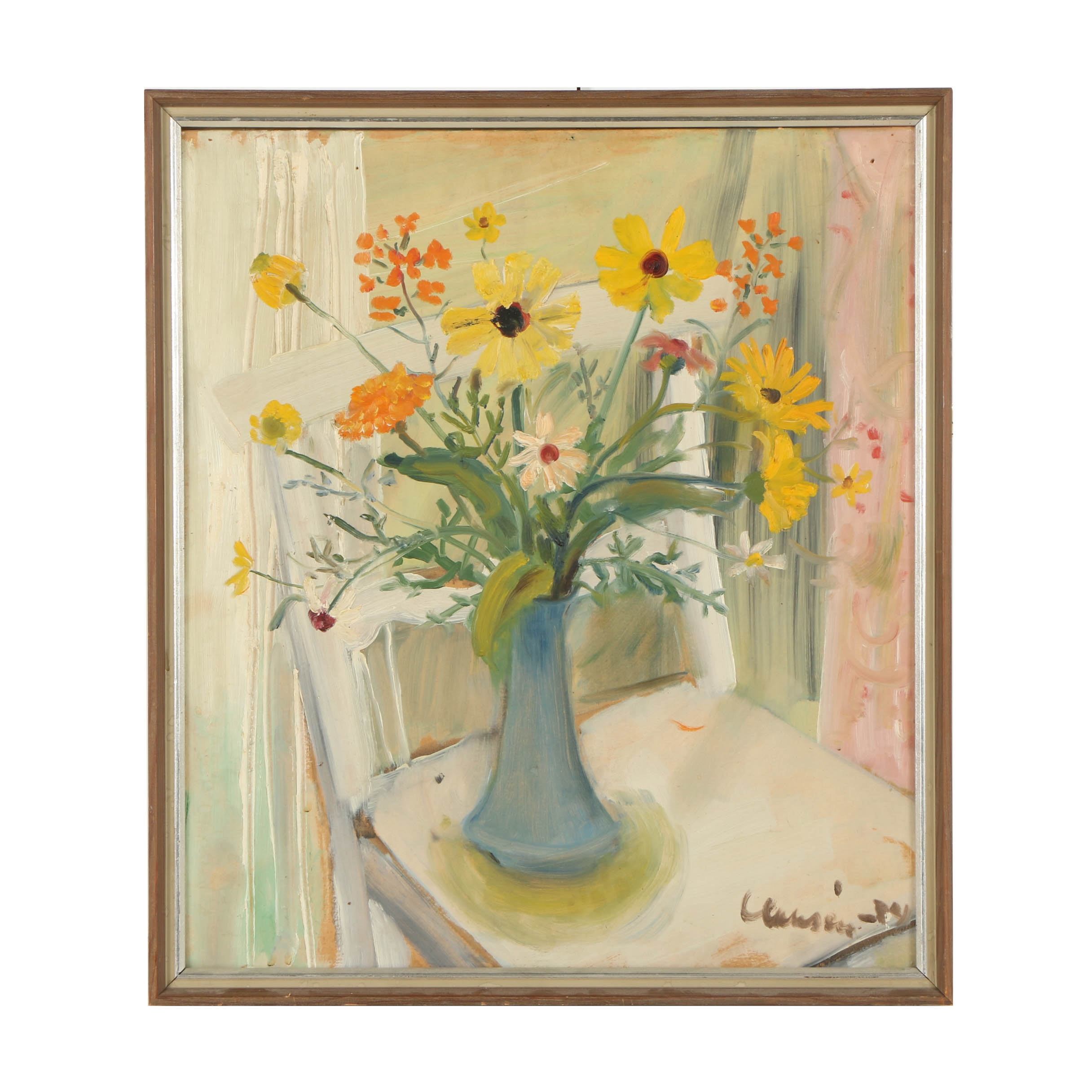 Mid 20th Century Oil Painting of Floral Still Life