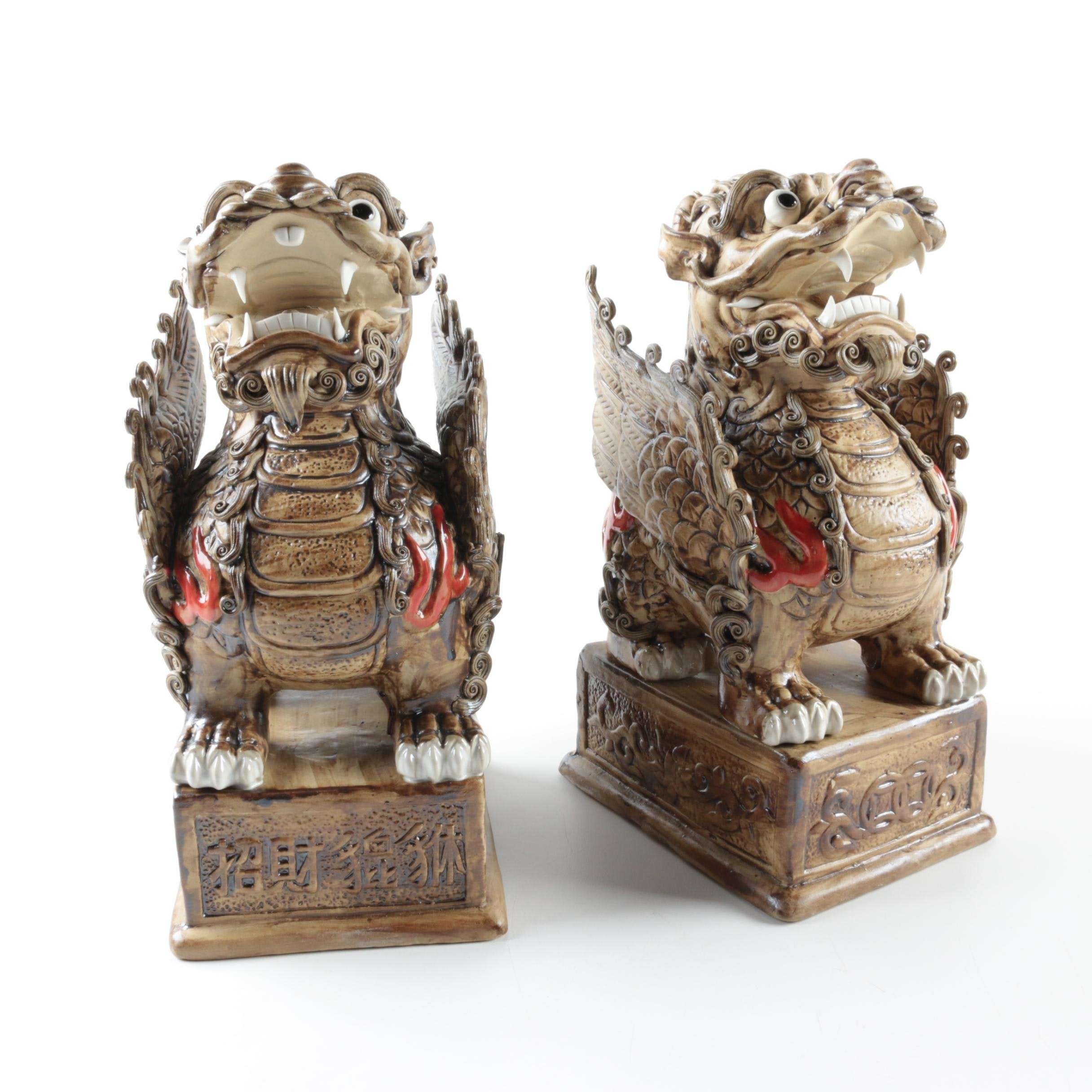 Chinese Ceramic Pi Yao Figurines