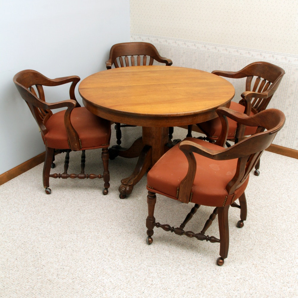 Vintage Oak Pedestal Dining Table with Chairs