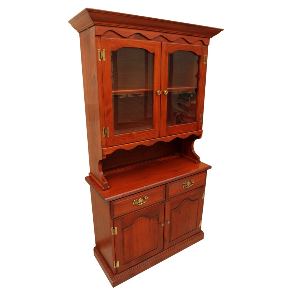 Colonial Style Pine Hutch Cabinet
