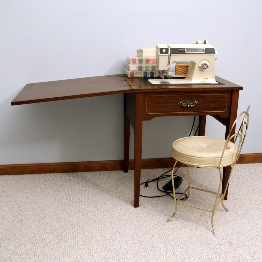 Singer Sewing Machine Table Chair And Supplies
