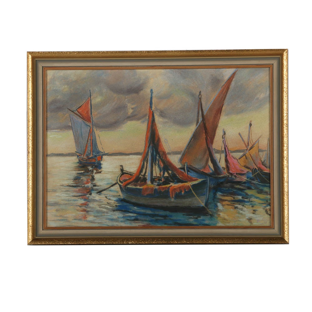 Pastel Drawing of Sailboats