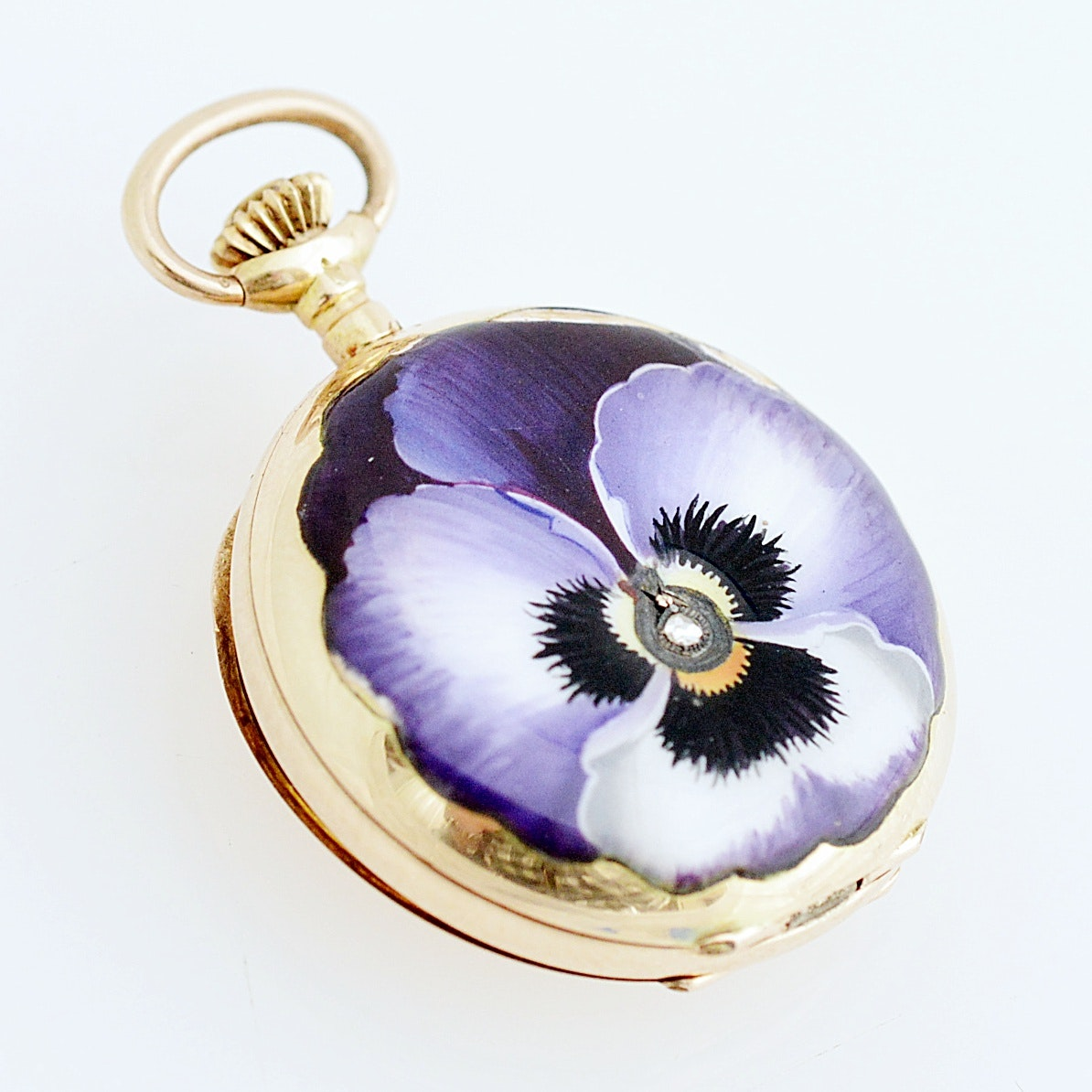 14K Yellow Gold and Purple Pansy-Enamel Swiss Pocket with Diamond Accent