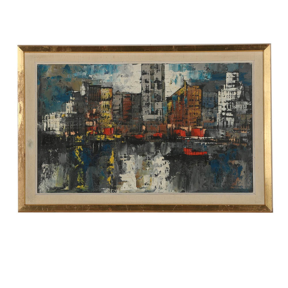Mid 20th Century Oil Painting of Abstract Cityscape