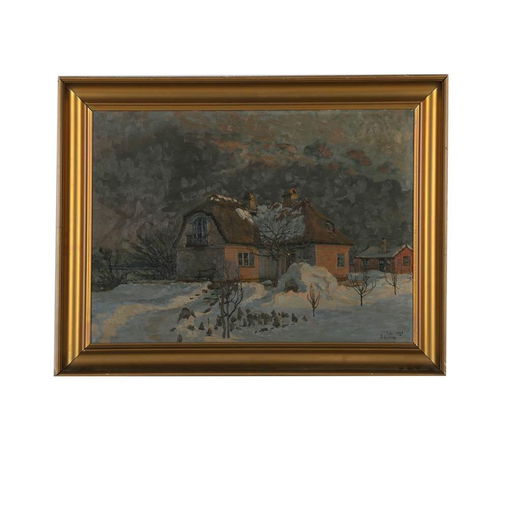 A. Haldriin 1929 Eastern European Landscape Oil Painting on Canvas