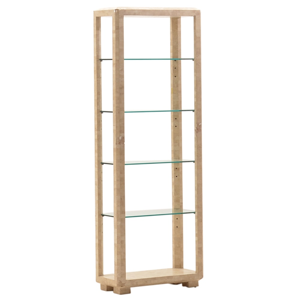 Handmade Stone and Glass Etagere
