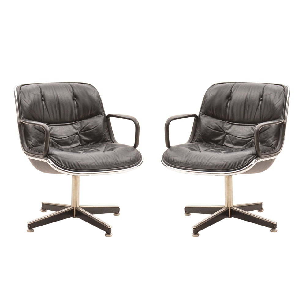 Mid Century Modern Charles Pollock Executive Chairs by Knoll