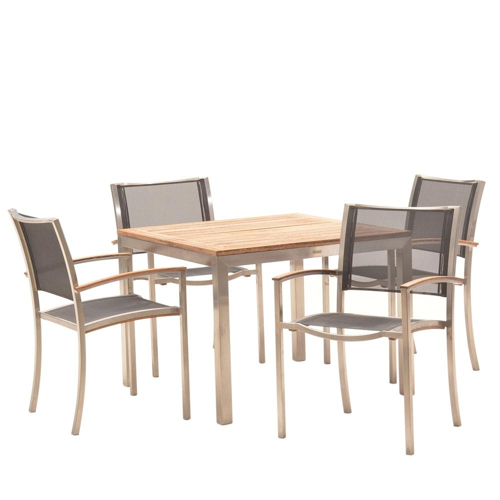 """Kingsley-Bate """"Tiburon"""" Stainless Steel & Teak Outdoor Dining Set"""