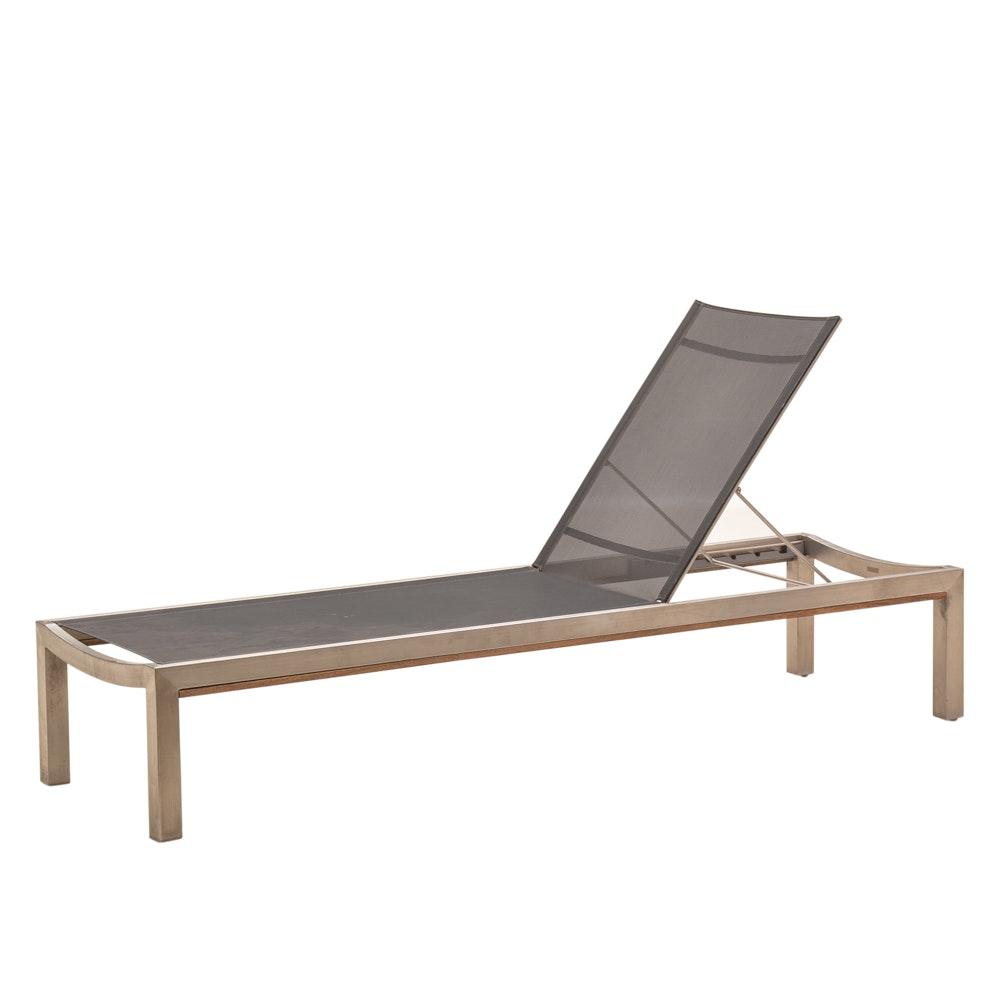 """Kingsley-Bate """"Tiburon"""" Stainless Steel & Teak Patio Lounge Chair"""