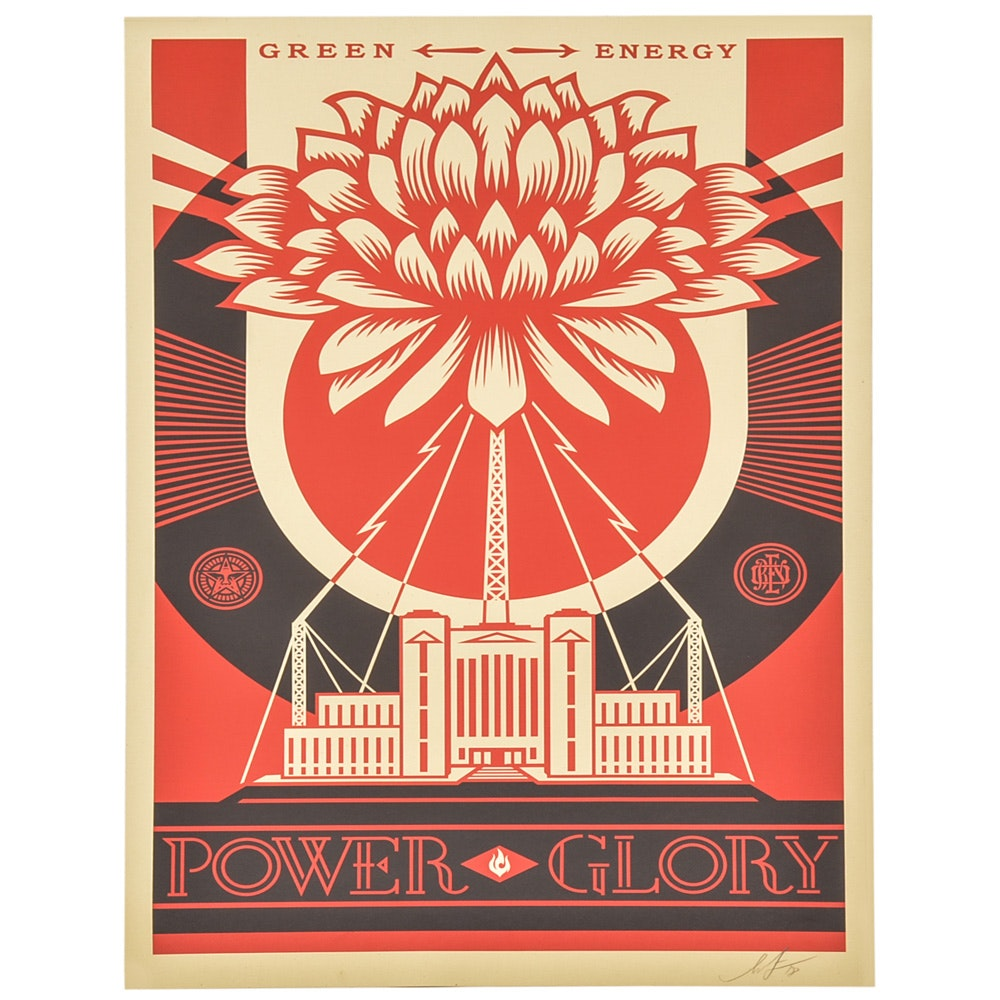 "Signed Shepard Fairey Offset Print ""Green Power"""