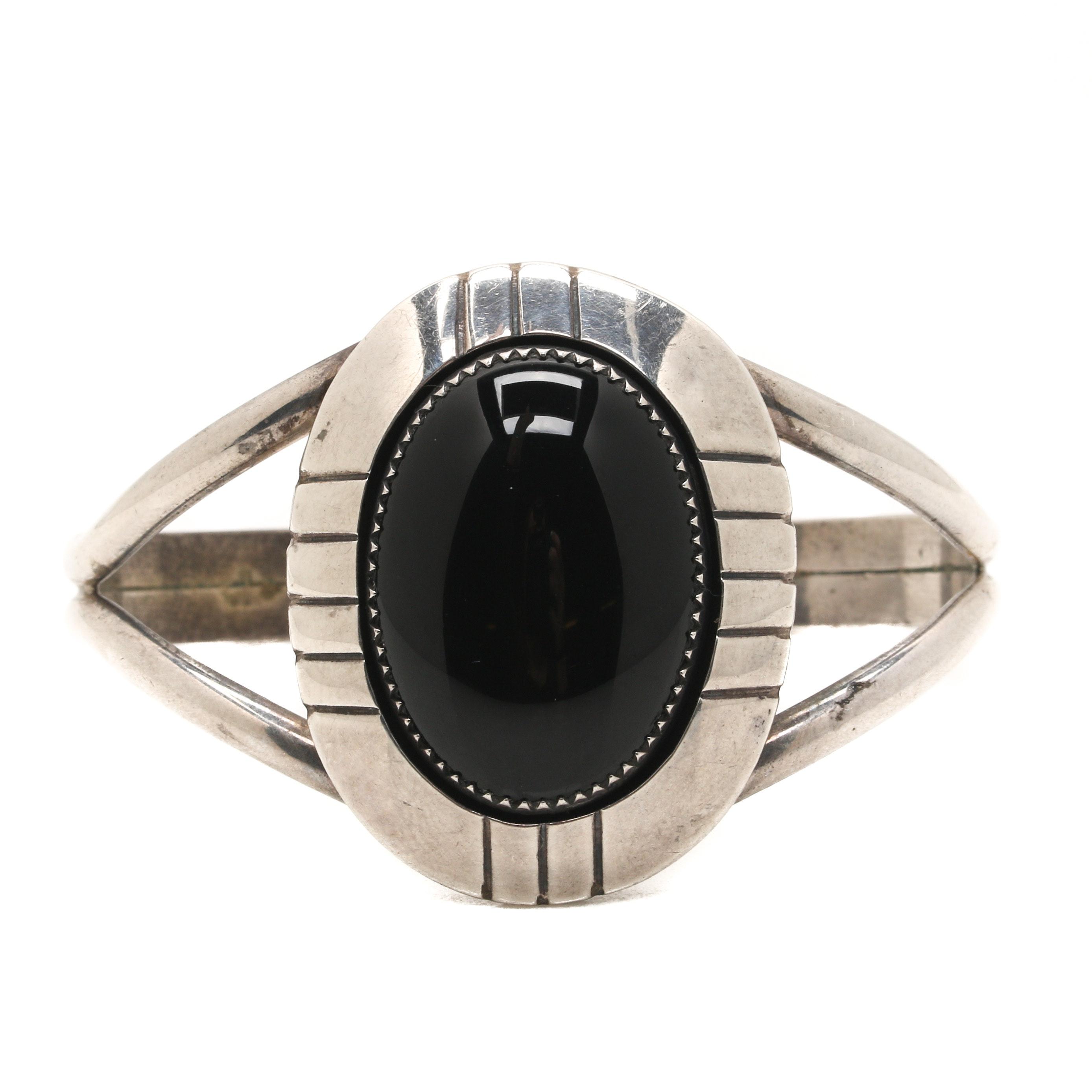 E. Yazzie Navajo Sterling Silver Black Onyx Cuff Bracelet