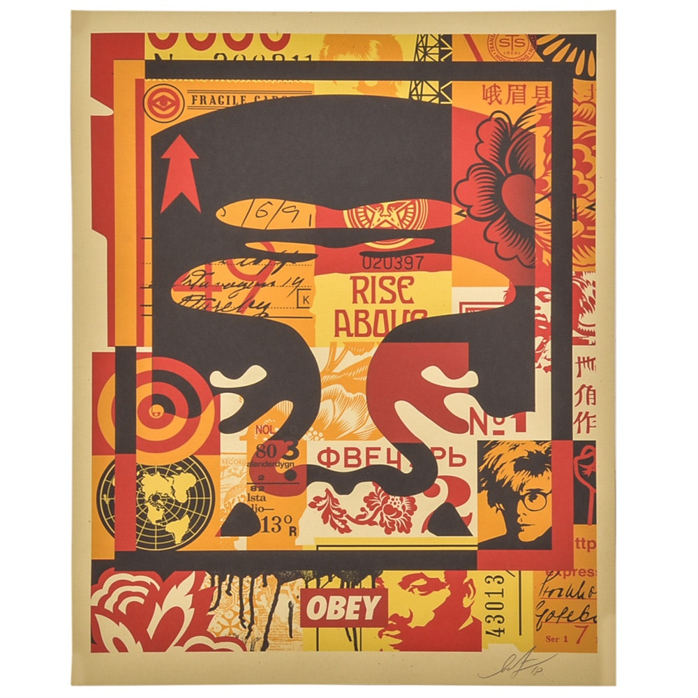 "Shepard Fairey Signed Offset Print ""Obey 3-Face Collage"""