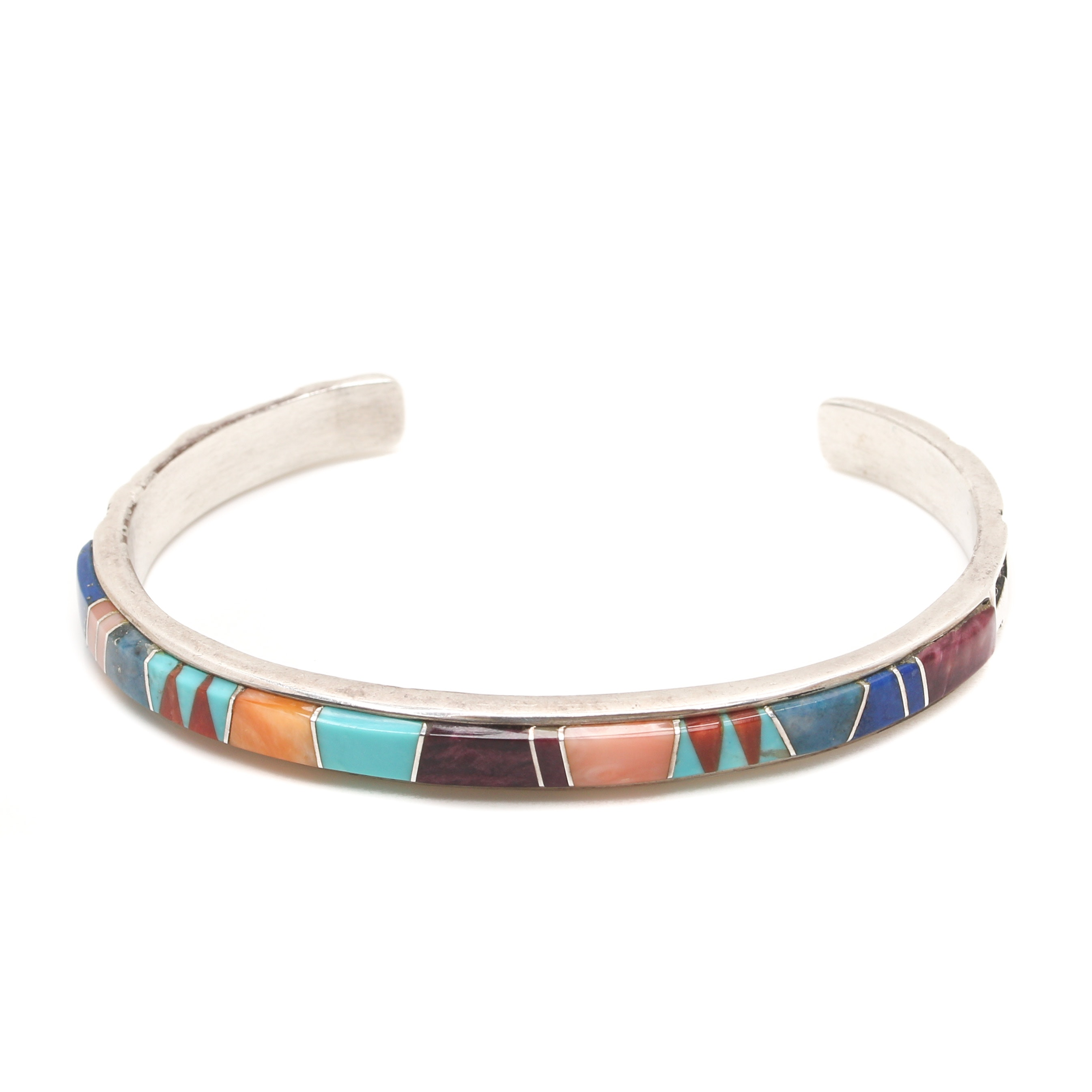 Marlene Watson Navajo Sterling Silver Turquoise and Gemstone Inlay Bracelet