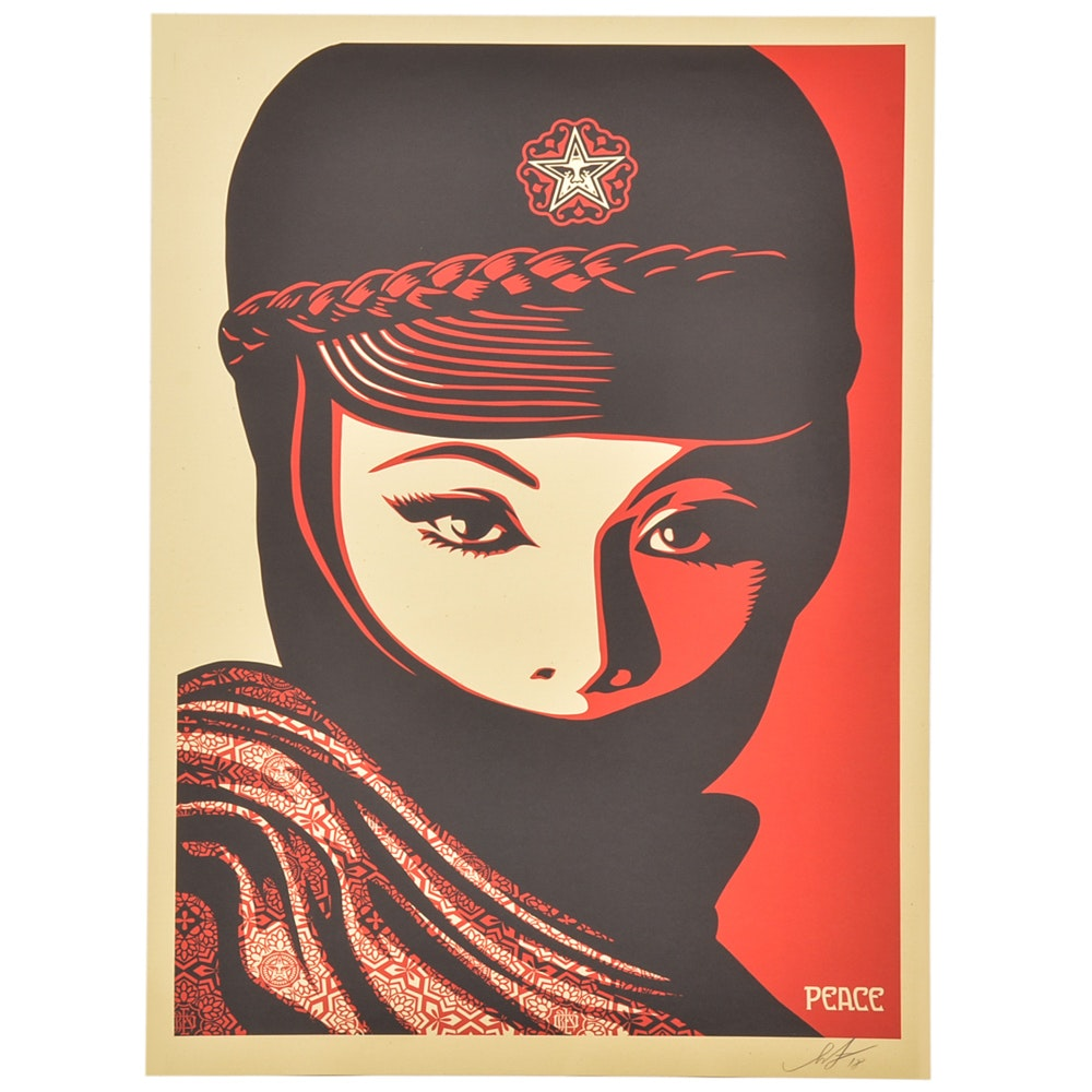 "Signed Shepard Fairey Offset Print ""Mujer Fatale"""