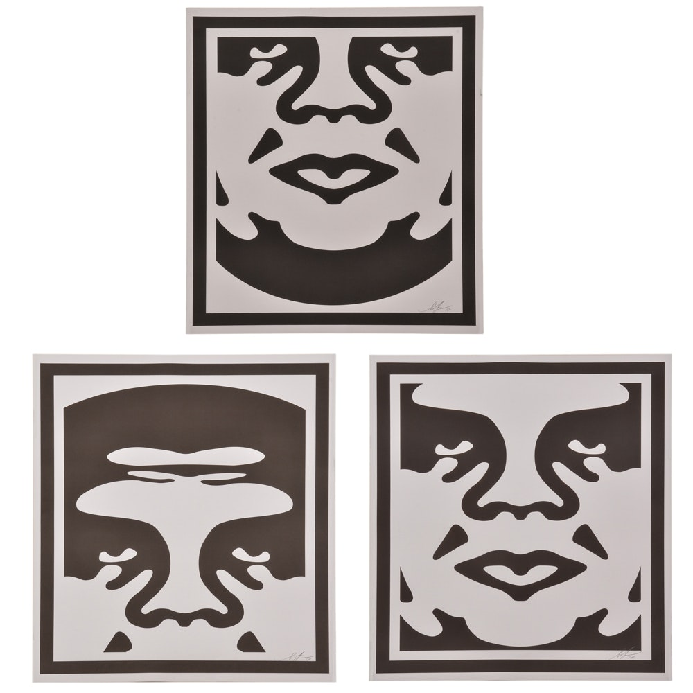 "Shepard Fairey Signed Offset Print Triptych ""Obey 3-Face"""