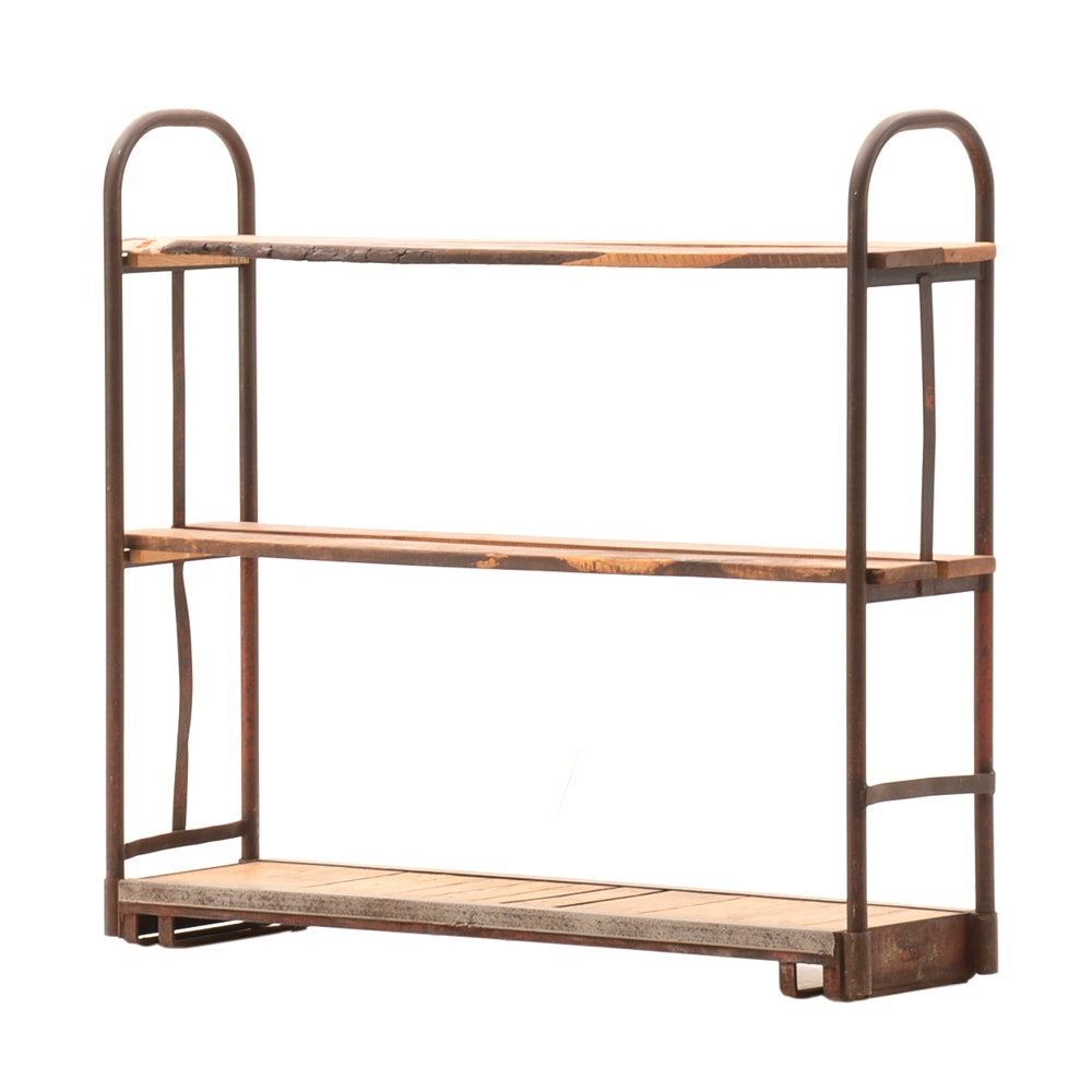 Vintage Industrial Cart Bookcase with Reclaimed Wood Shelves
