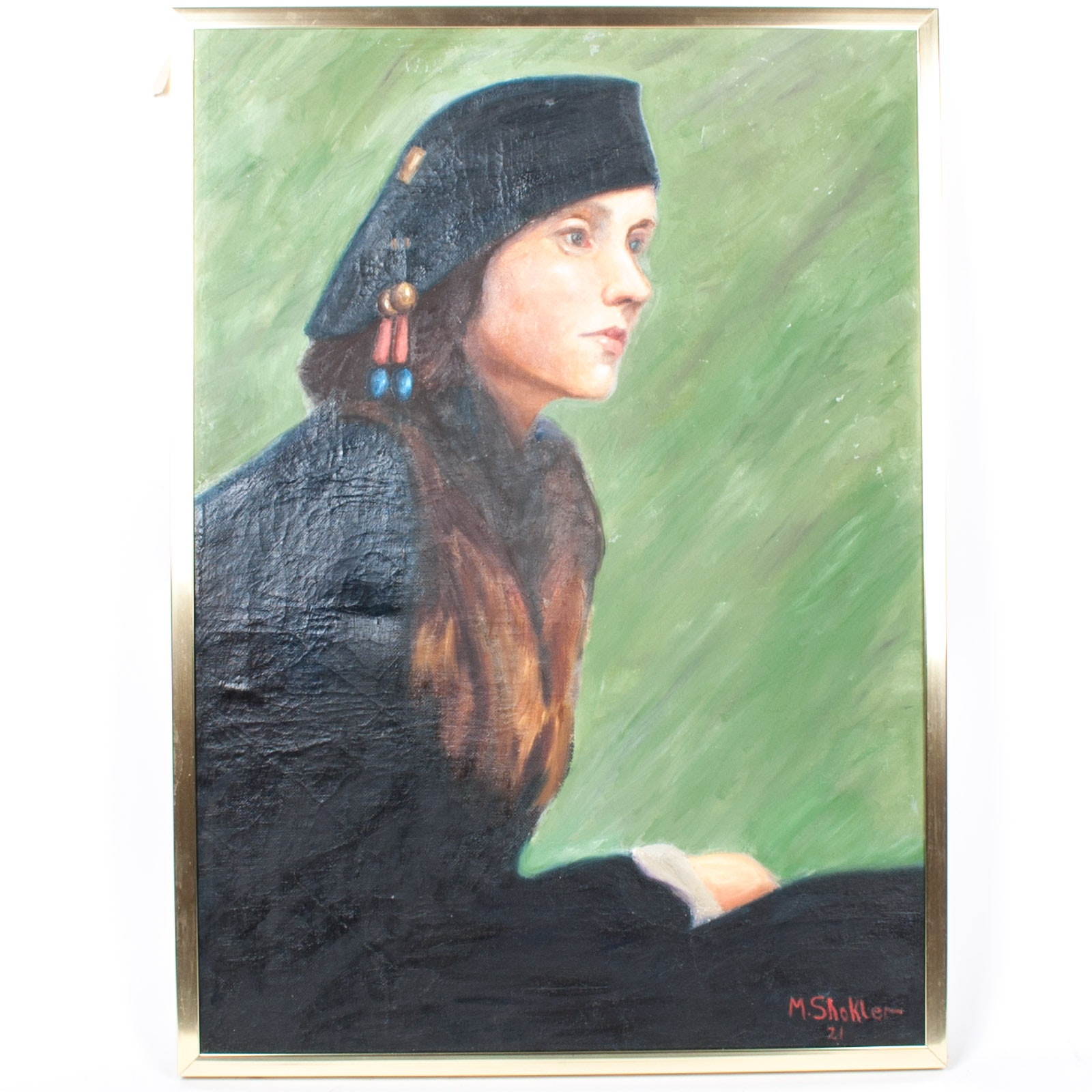 Morris Shokler 1921 Oil Painting on Canvas of Woman in Hat