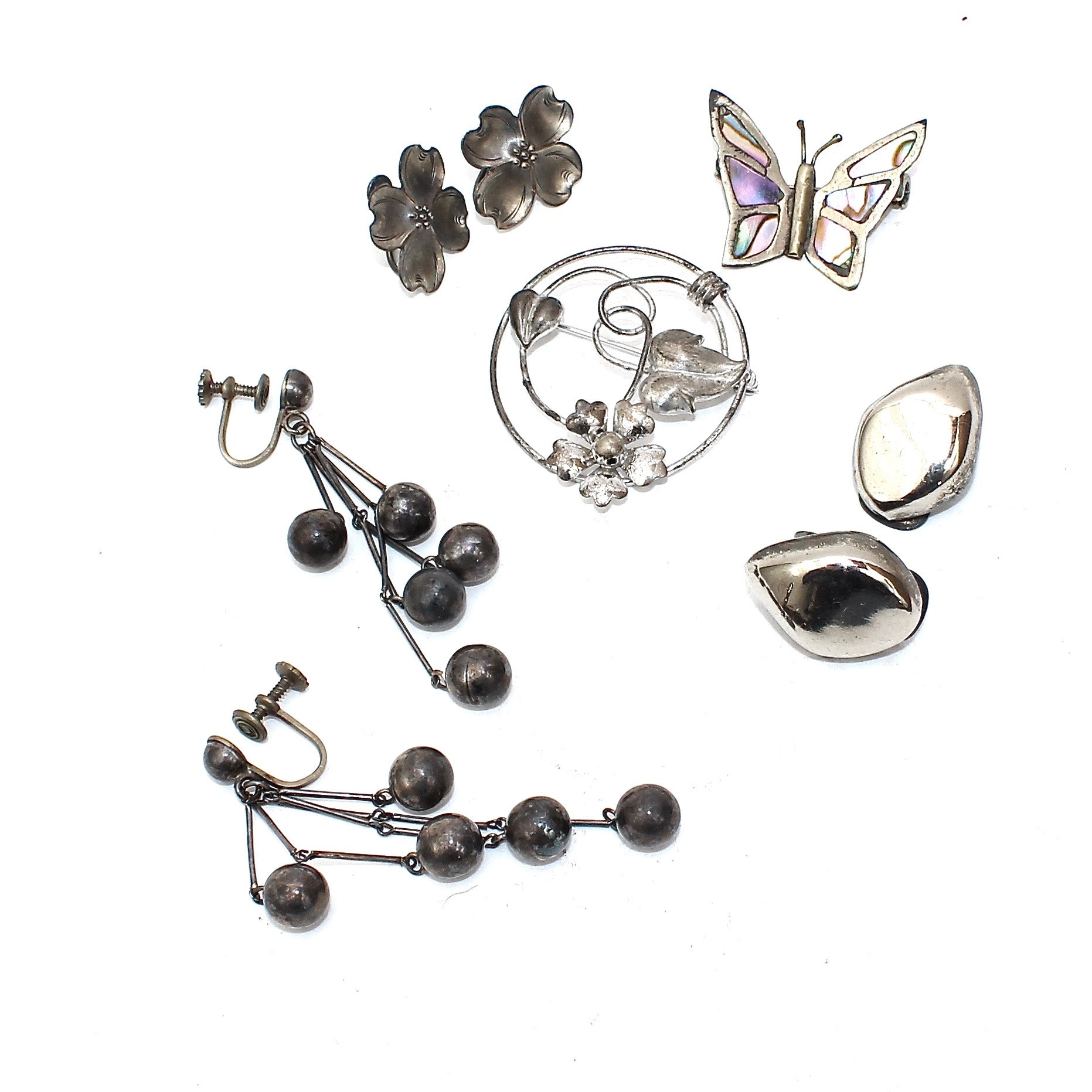 Sterling Silver Earrings and Brooches