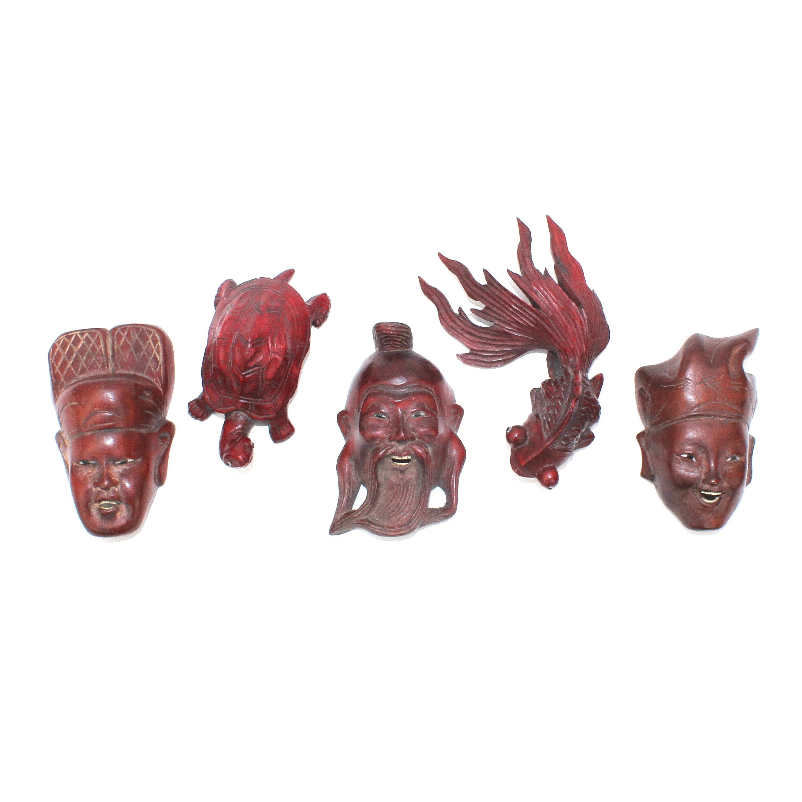 Miniature Chinese Rosewood Carved Masks and Animals