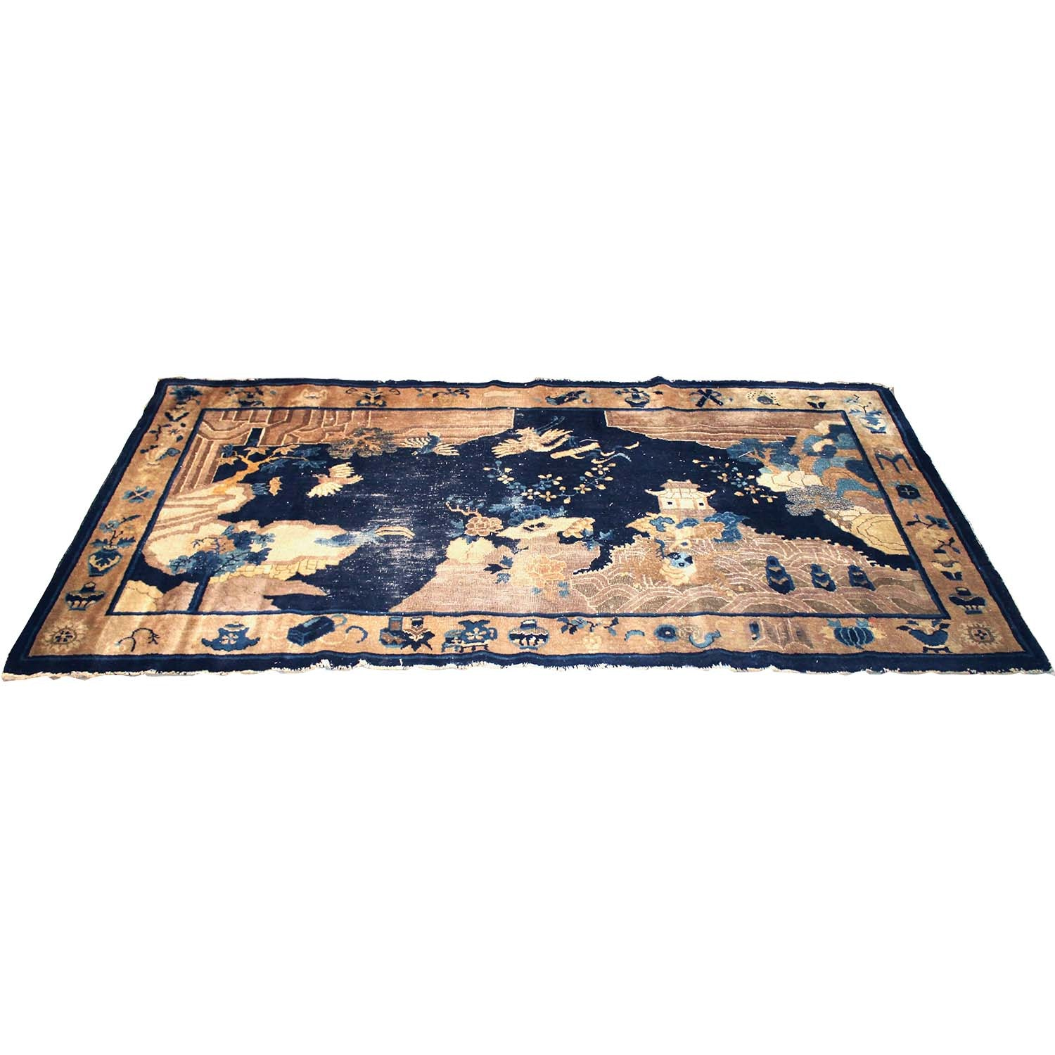 Semi-Antique Hand-Knotted Chinese Peking Pictorial Rug