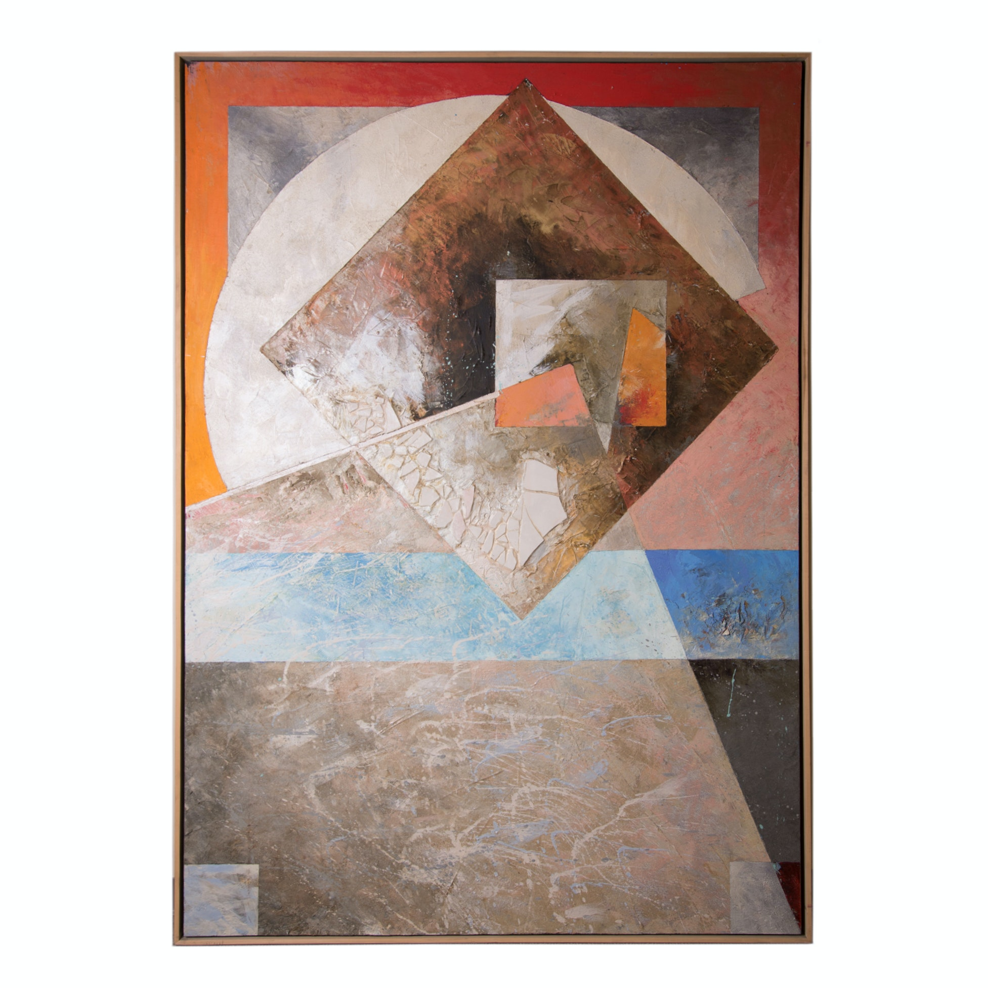 "Andy Braitman Mixed Media Oil and Encaustic on Canvas ""Nature's Geometry"""